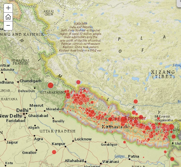 Saving nepal the information revolution nepal earthquake map nepalmap gumiabroncs Image collections