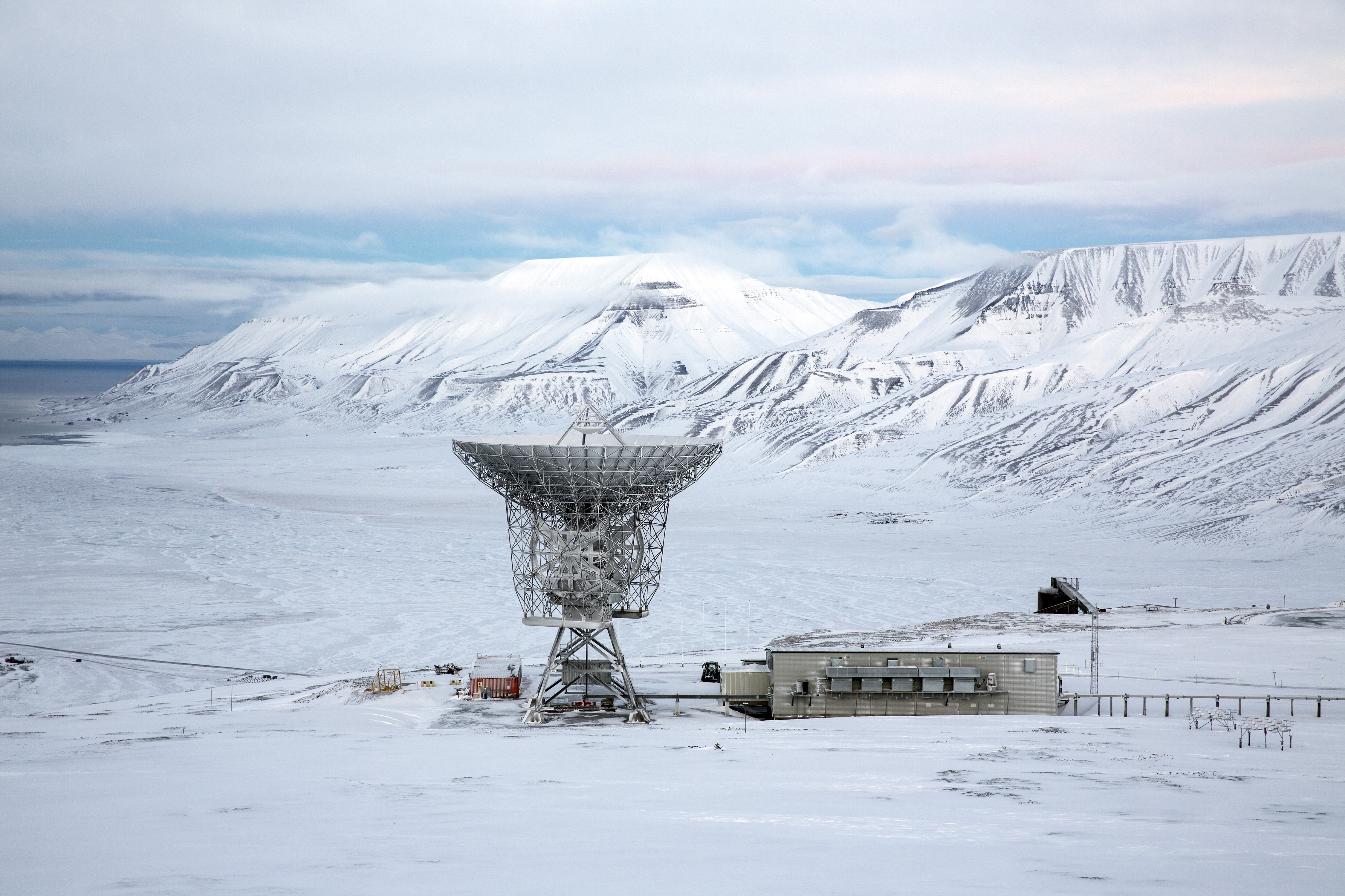Radar dish and antennas systems are seen at the European Incoherent Scatter Scientific Association facility on Breinosa, Svalbard, in Norway. (REUTERS/Anna Filipova)