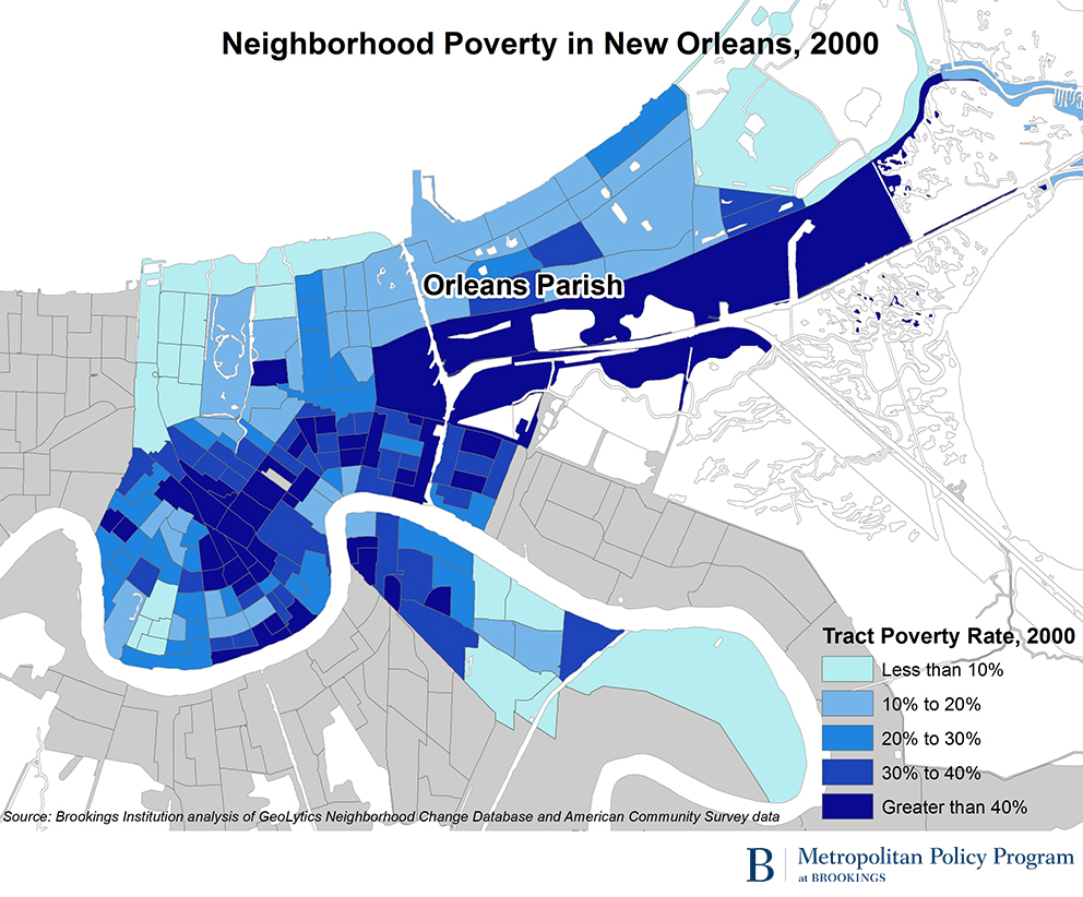 Concentrated poverty in New Orleans 10 years after Katrina