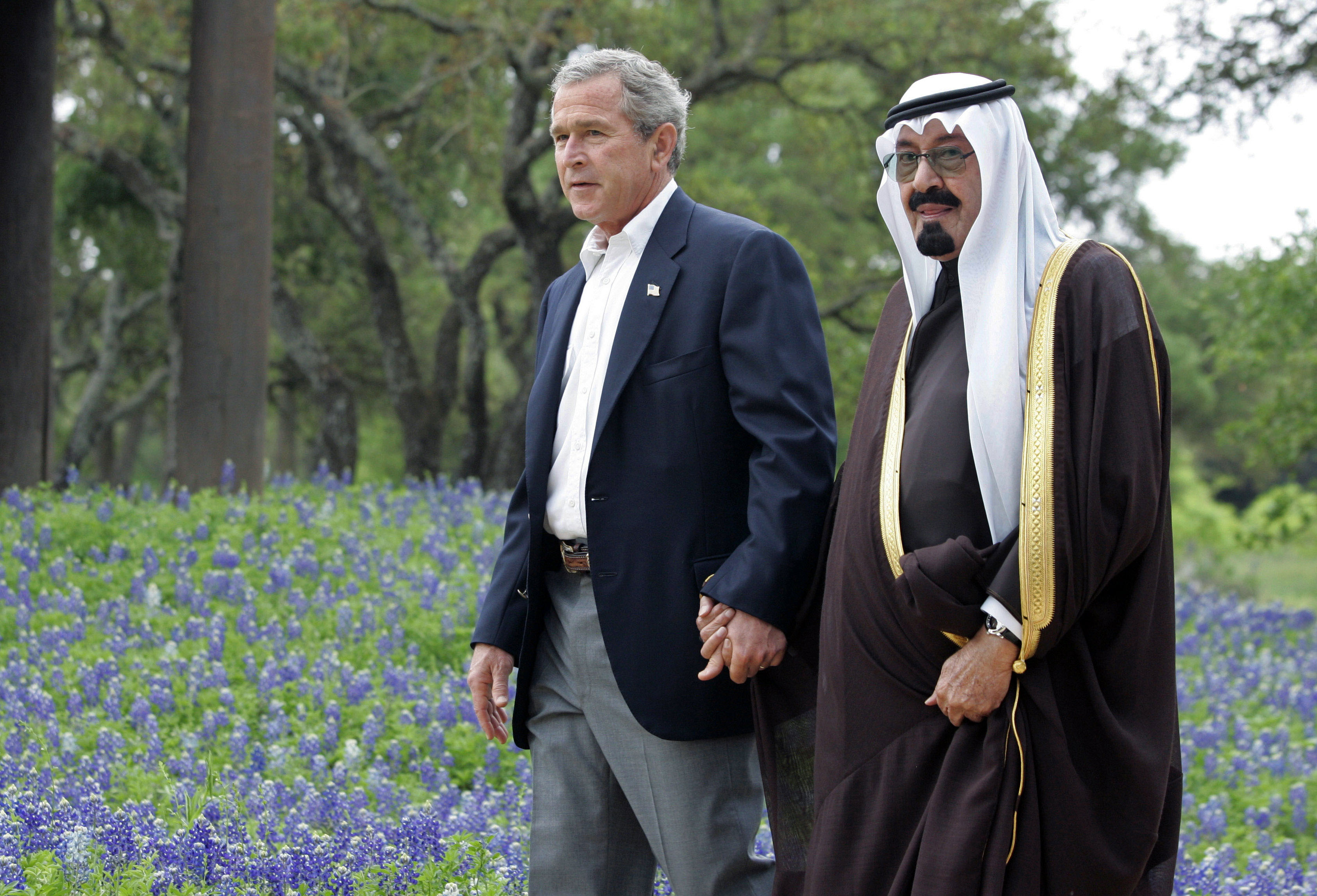 Image result for president bush holding hands with king of saudi arabia'