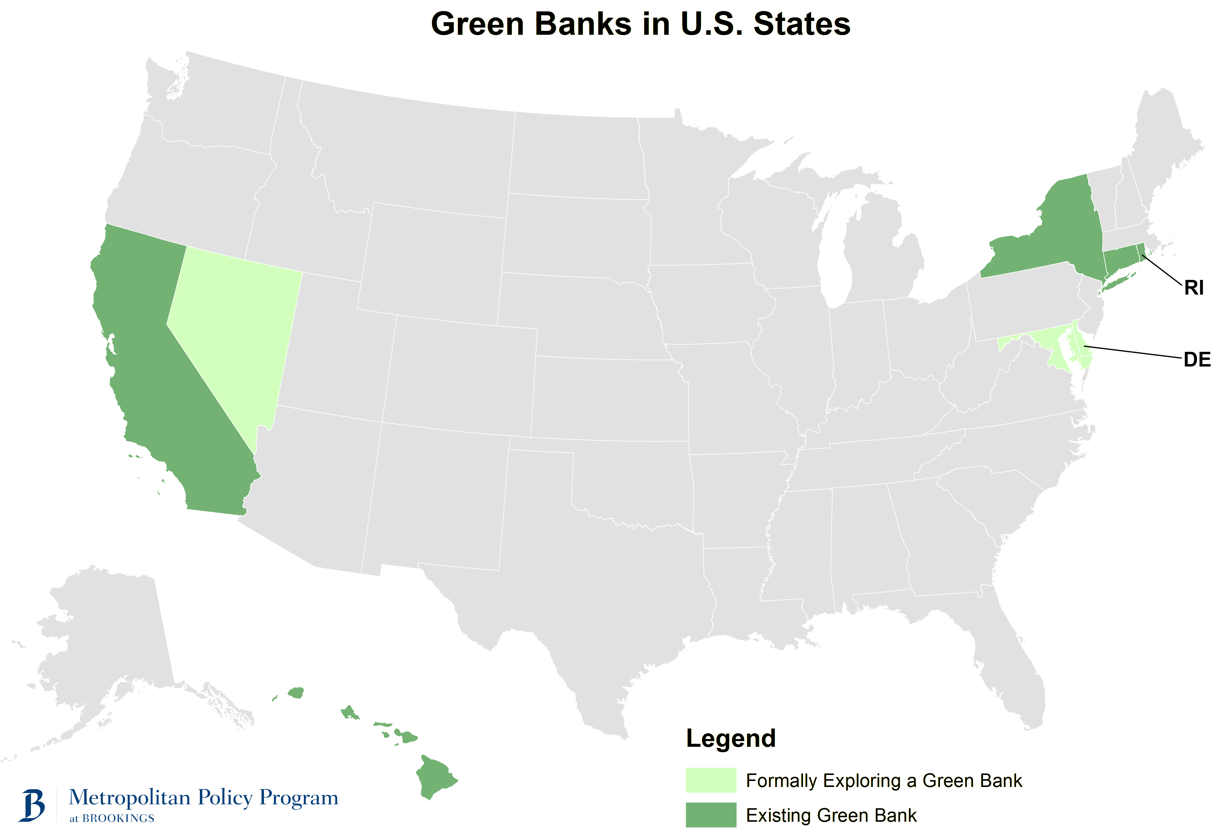 Washington Should Help Capitalize Green Banks Brookings Institution - 50 states map capitals