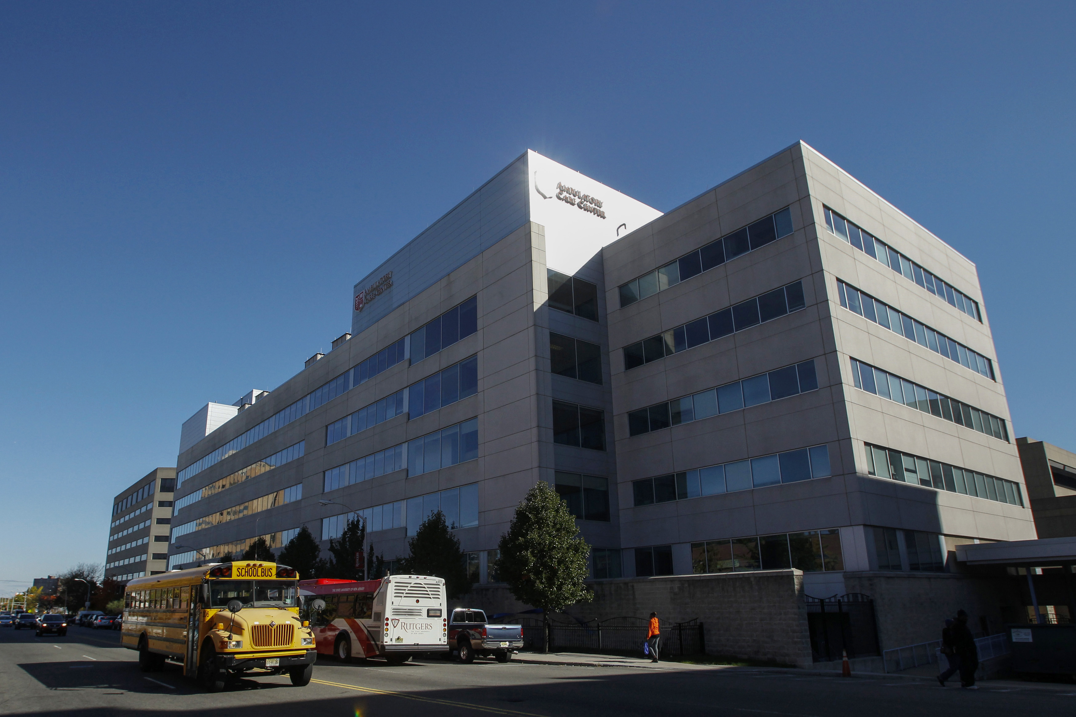 A hospital seen from street level