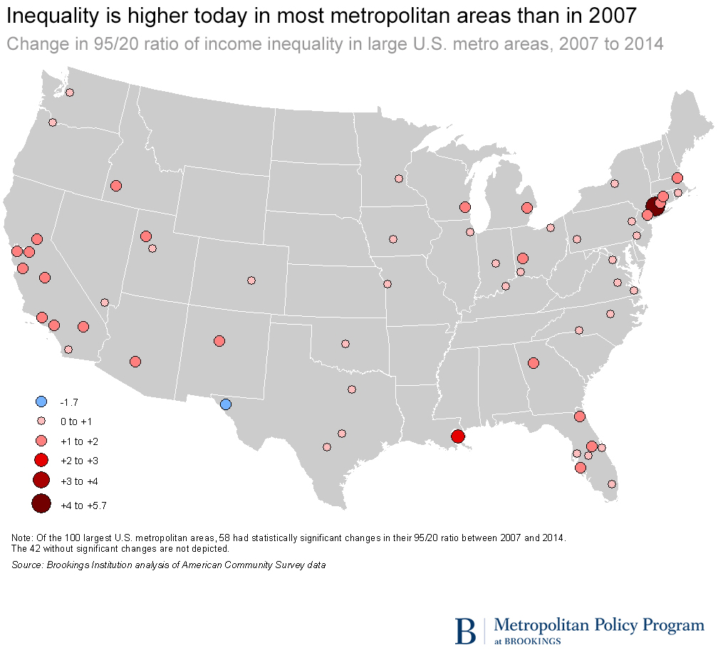 City And Metropolitan Inequality On The Rise Driven By Declining - Us map housing expense 2016