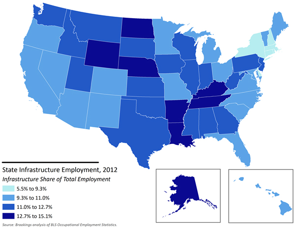 Share of Infrastructure Employment By State 2012