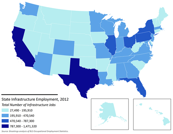 Total Infrastructure Employment By State 2012