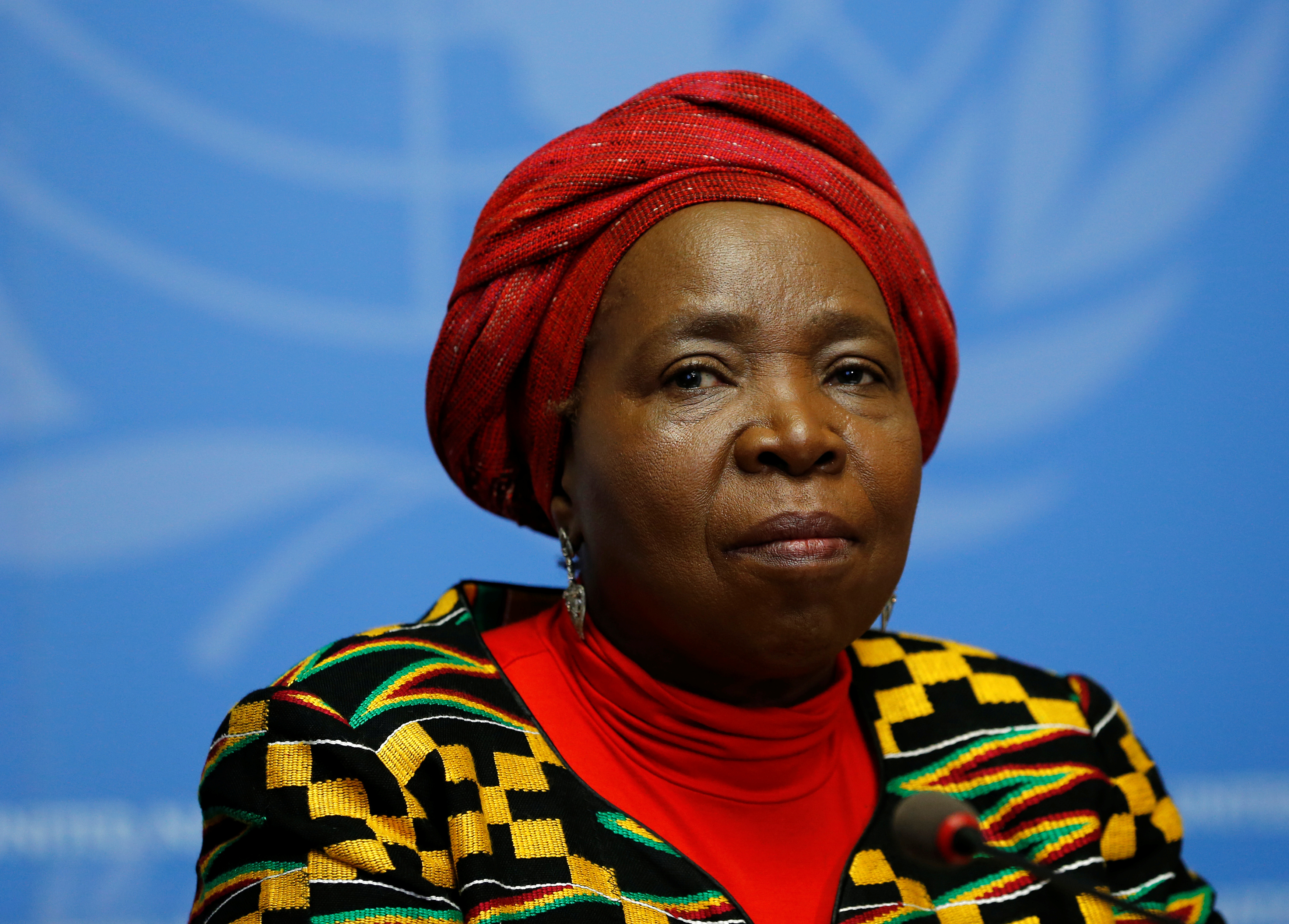 Nkosazana Clarice Dlamini-Zuma, African Union Commission Chairperson and former South African Minister of Health, Minister of Foreign Affairs, and Minister of Home Affairs attends a news conference.