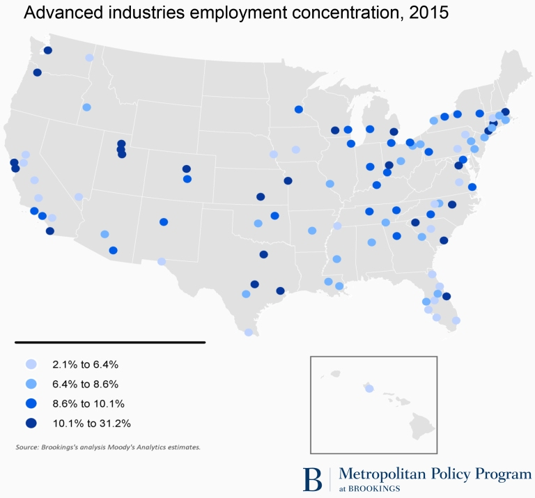 Advanced industries employment concentration, 2015