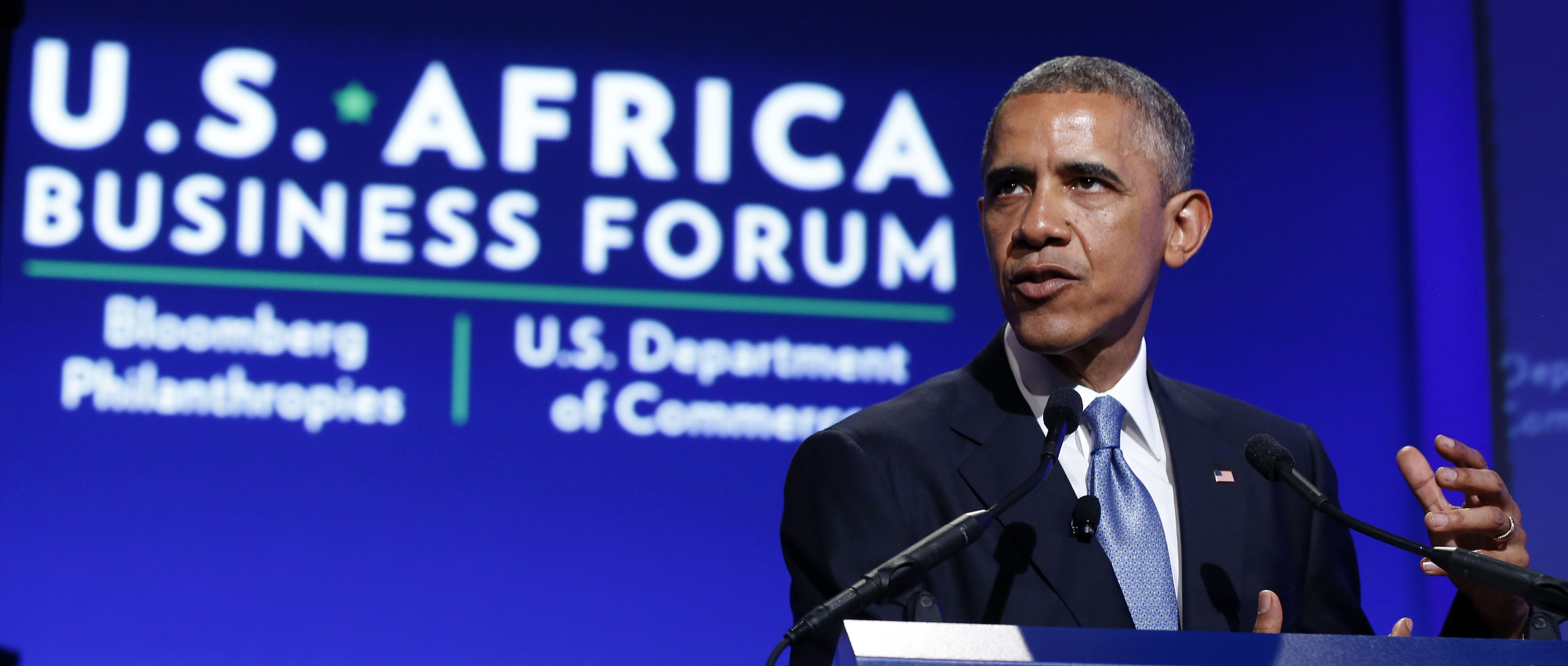 U.S. President Barack Obama talks at the U.S.-Africa Business Forum about strengthening trade and financial ties between the U.S. and Africa in Washington, August 5, 2014.     REUTERS/Larry Downing   (UNITED STATES - Tags: POLITICS BUSINESS) - RTR41CWV