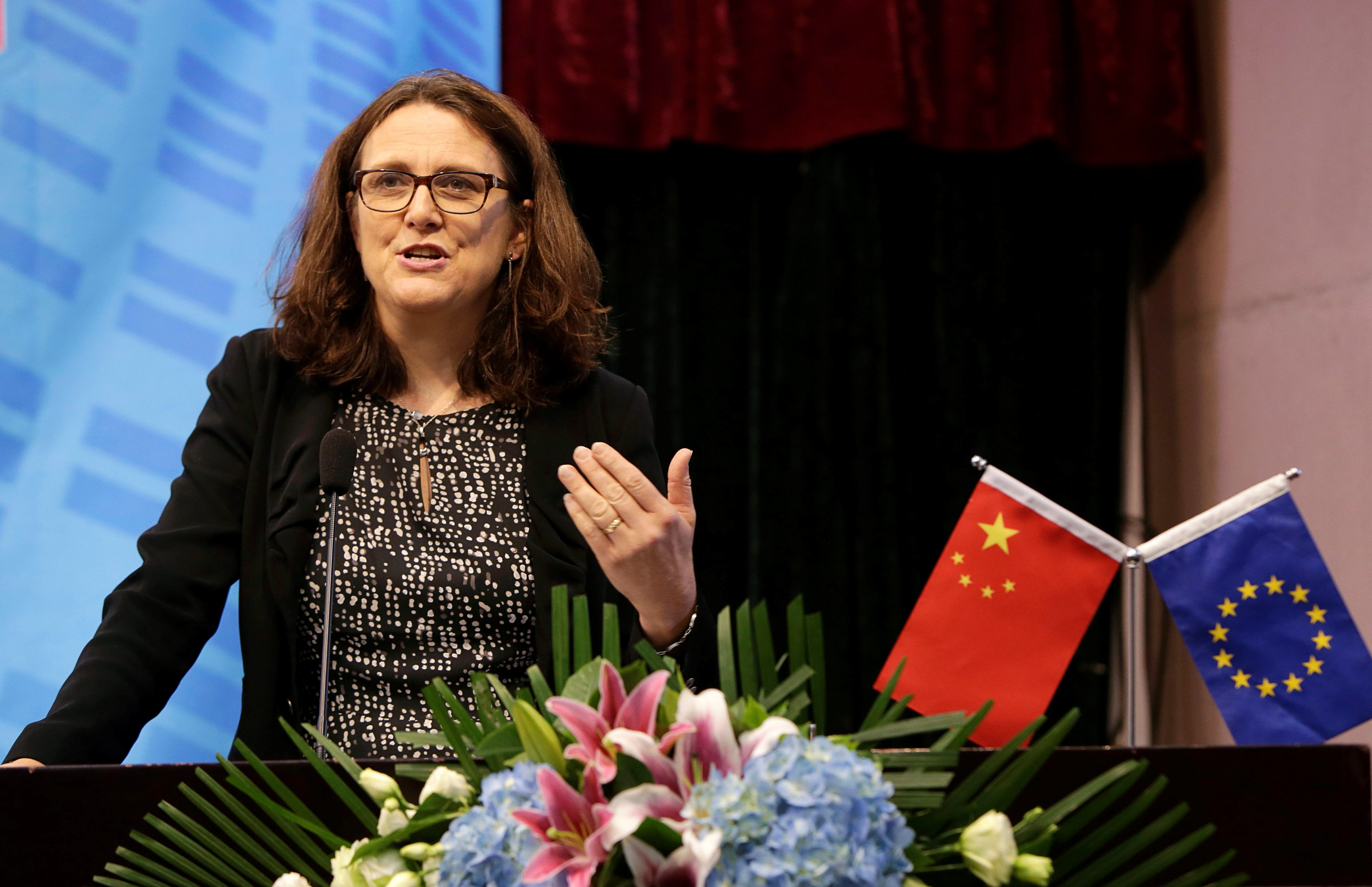 EU Trade Commissioner Cecilia Malmstrom delivers a keynote speech at Beijing's University of International Business and Economics in Beijing, China, July 11, 2016. REUTERS/Jason Lee - RTSHCBH