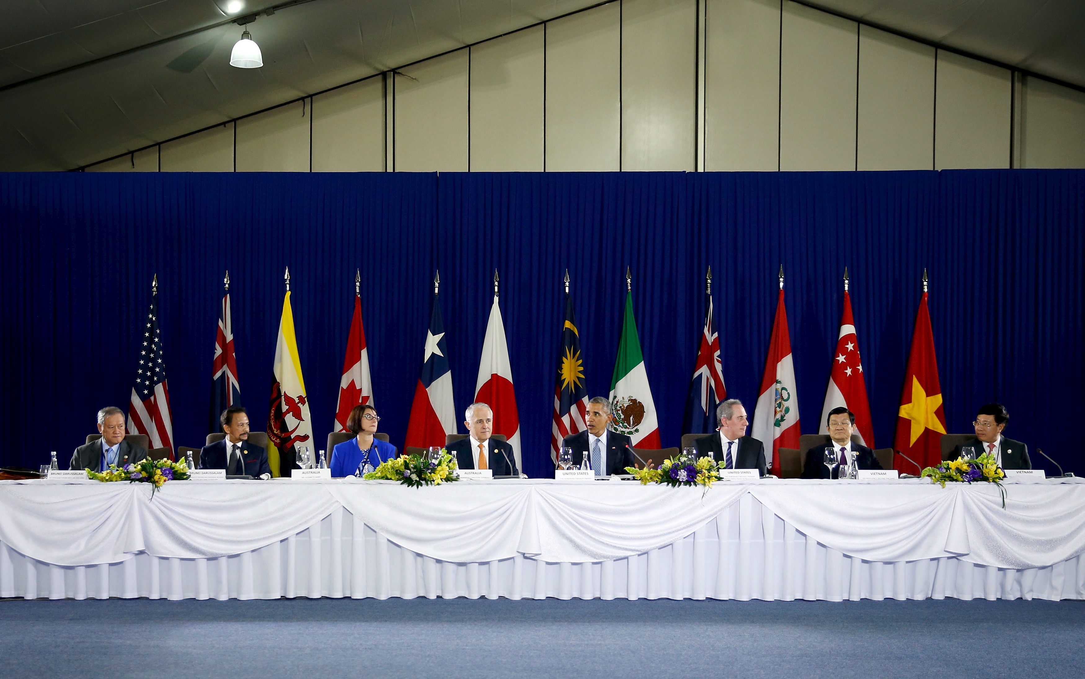 President Barack Obama holds a meeting with Trans-Pacific Partnership leaders alongside the APEC Summit
