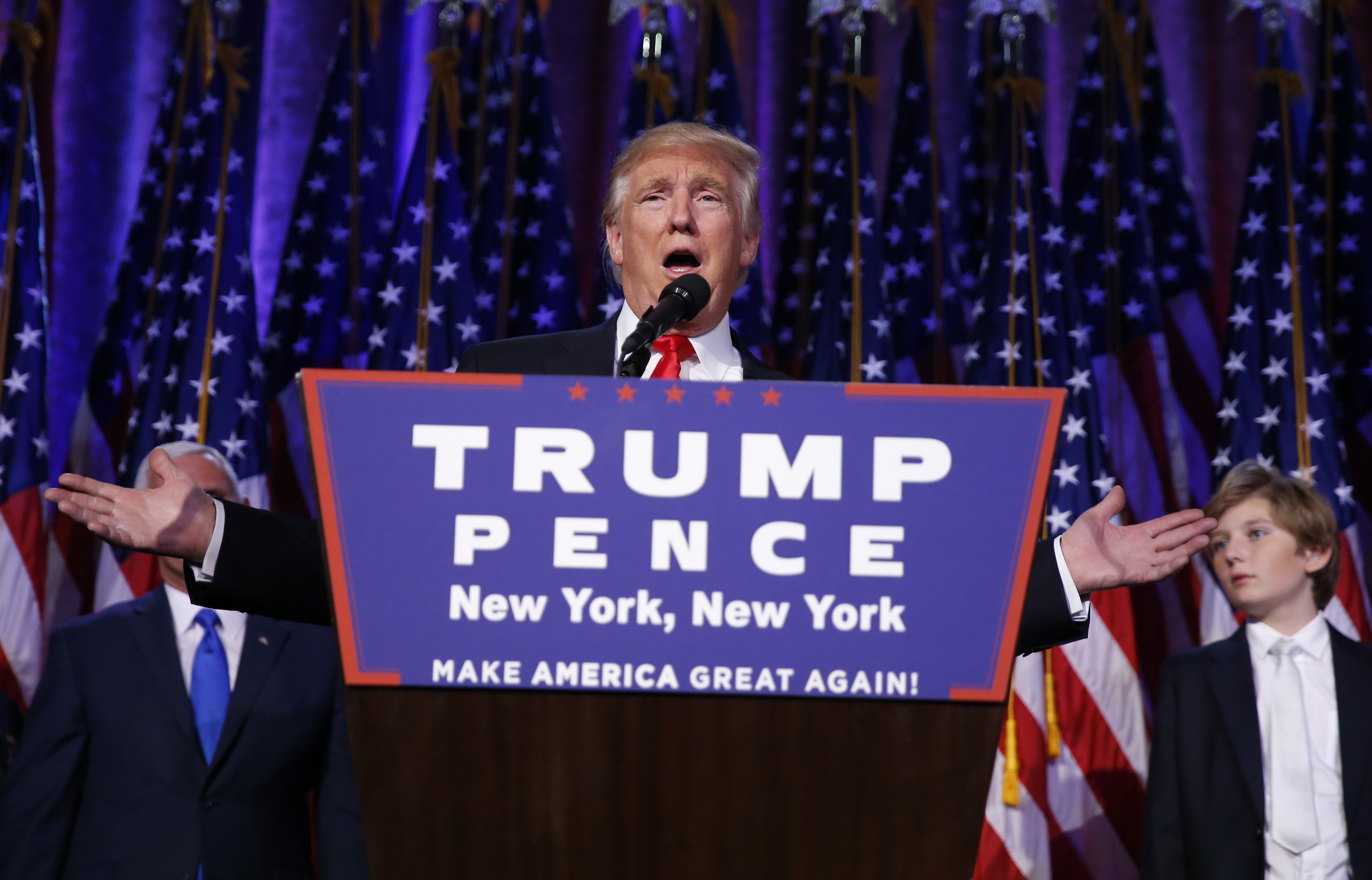 Republican U.S. president-elect Donald Trump speaks at his election night rally in Manhattan, New York, U.S., November 9, 2016. REUTERS/Carlo Allegri  - RTX2SPWK