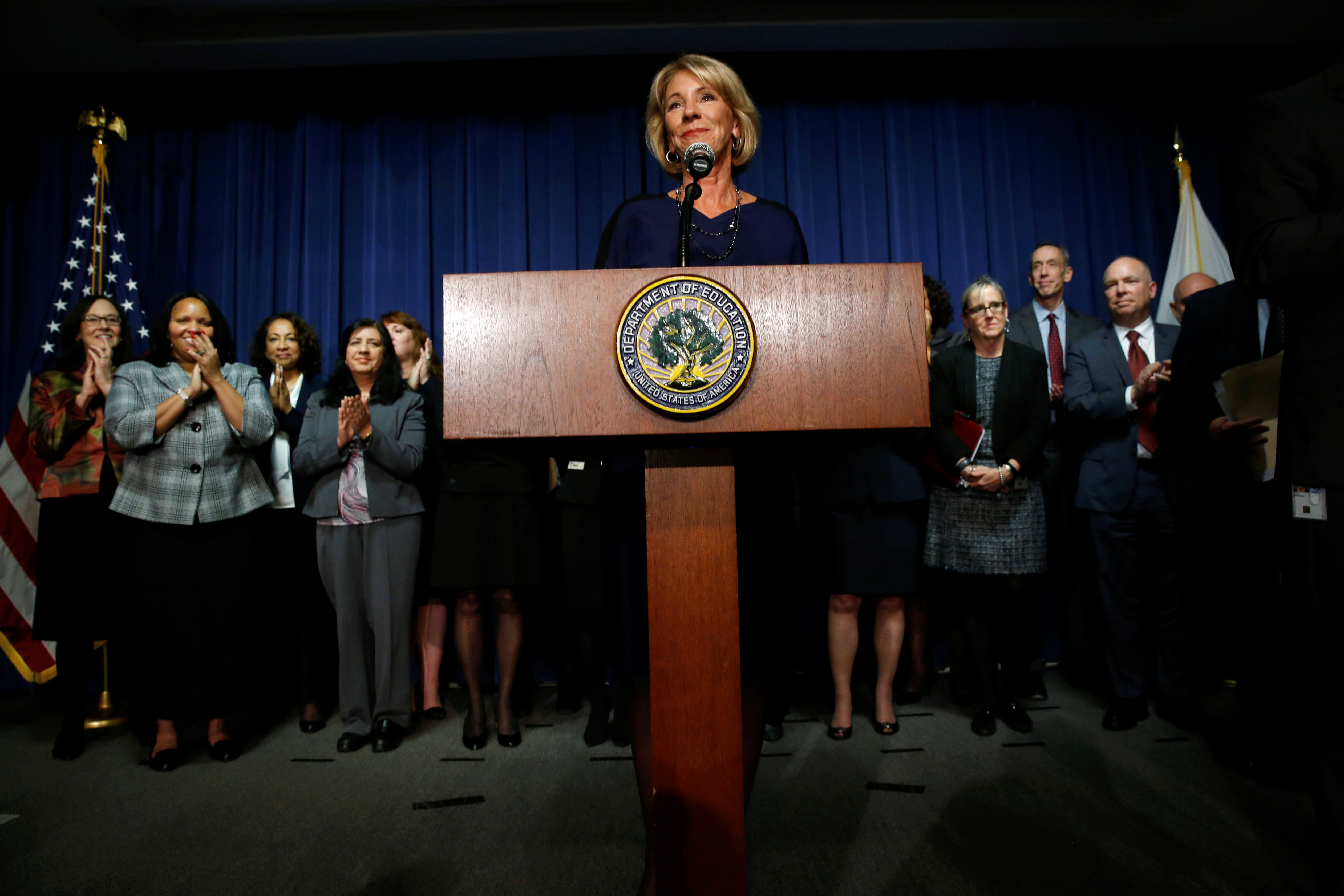 U.S. Education Secretary Betsy DeVos addresses Education Department staff on her first day on the job in Washington