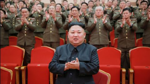 North Korean leader Kim Jong Un watches a performance given with splendor at the People's Theatre on Wednesday to mark the 70th anniversary of the founding of the State Merited Chorus in this photo released by North Korea's Korean Central News Agency (KCNA) in Pyongyang on February 23, 2017. KCNA/via REUTERS   ATTENTION EDITORS - THIS PICTURE WAS PROVIDED BY A THIRD PARTY. REUTERS IS UNABLE TO INDEPENDENTLY VERIFY THE AUTHENTICITY, CONTENT, LOCATION OR DATE OF THIS IMAGE. FOR EDITORIAL USE ONLY. NOT FOR SALE FOR MARKETING OR ADVERTISING CAMPAIGNS. NO THIRD PARTY SALES. NOT FOR USE BY REUTERS THIRD PARTY DISTRIBUTORS. SOUTH KOREA OUT. NO COMMERCIAL OR EDITORIAL SALES IN SOUTH KOREA. - RTSZXCL