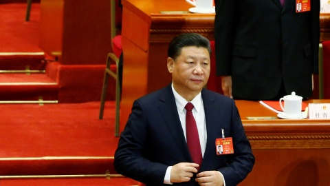 China's President Xi Jinping attends the closing session of China's National People's Congress (NPC) at the Great Hall of the People in Beijing, China, March 15, 2017. REUTERS/Thomas Peter - RTX311MQ