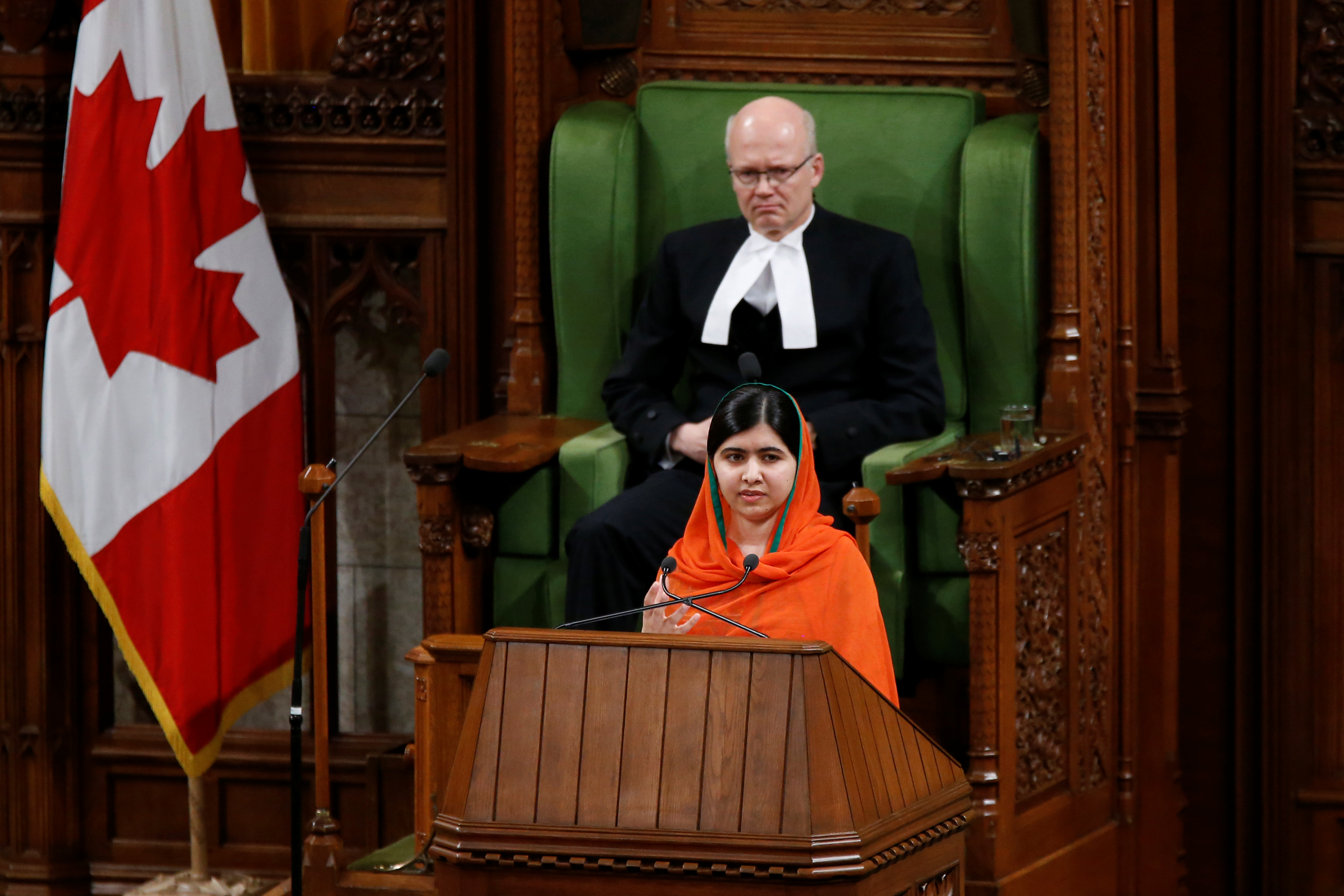 Pakistani Nobel Peace Prize laureate Malala Yousafzai addresses a joint session of Parliament in the House of Commons in Ottawa, Ontario, Canada, April 12, 2017. REUTERS/Chris Wattie - RTX359WG
