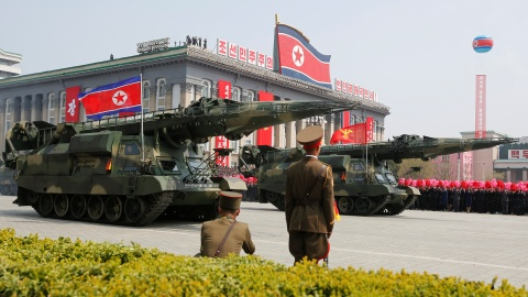 Missiles are driven past the stand with North Korean leader Kim Jong Un and other high ranking officials during a military parade marking the 105th birth anniversary of North Korea's founding father, Kim Il Sung, in Pyongyang, April 15, 2017.     REUTERS/Sue-Lin Wong - RTS12FMP