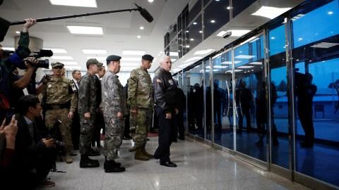U.S. Vice President Mike Pence arrives at the truce village of Panmunjom, South Korea, April 17, 2017.  REUTERS/Kim Hong-Ji - RTS12KOB
