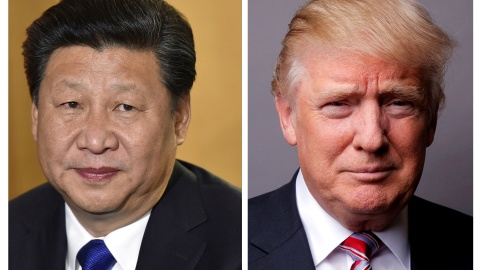 FILE PHOTOS: A combination of file photos showing Chinese President Xi Jinping (L) at London's Heathrow Airport, October 19, 2015 and U.S. President Donald Trump posing for a photo in New York City, U.S., May 17, 2016. REUTERS/Toby Melville/Lucas Jackson/File Photos - RTX33BI5