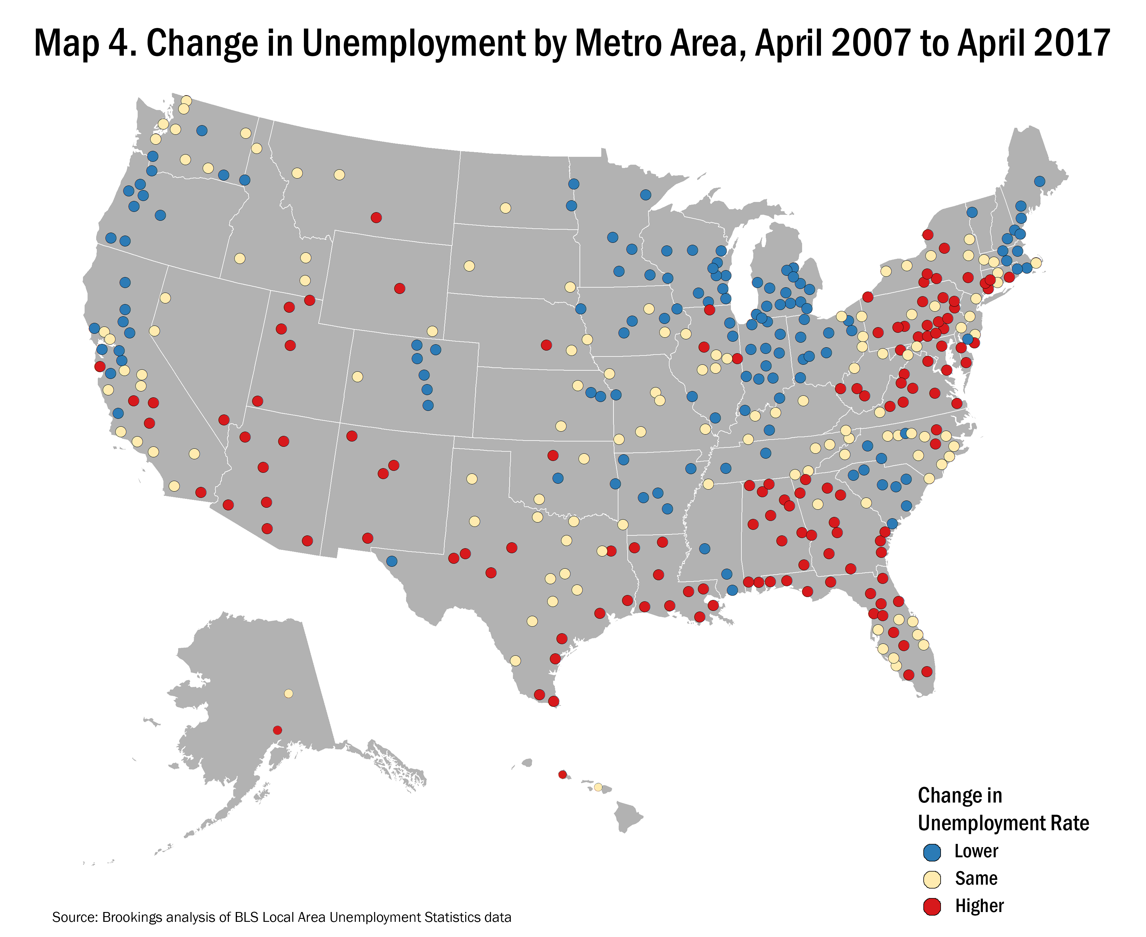 metro area unemployment trends buck the national narrative a Local Area Unemployment Statistics Map map of change in unemployment by metro area, april 2007 to april 2017 local area unemployment statistics map