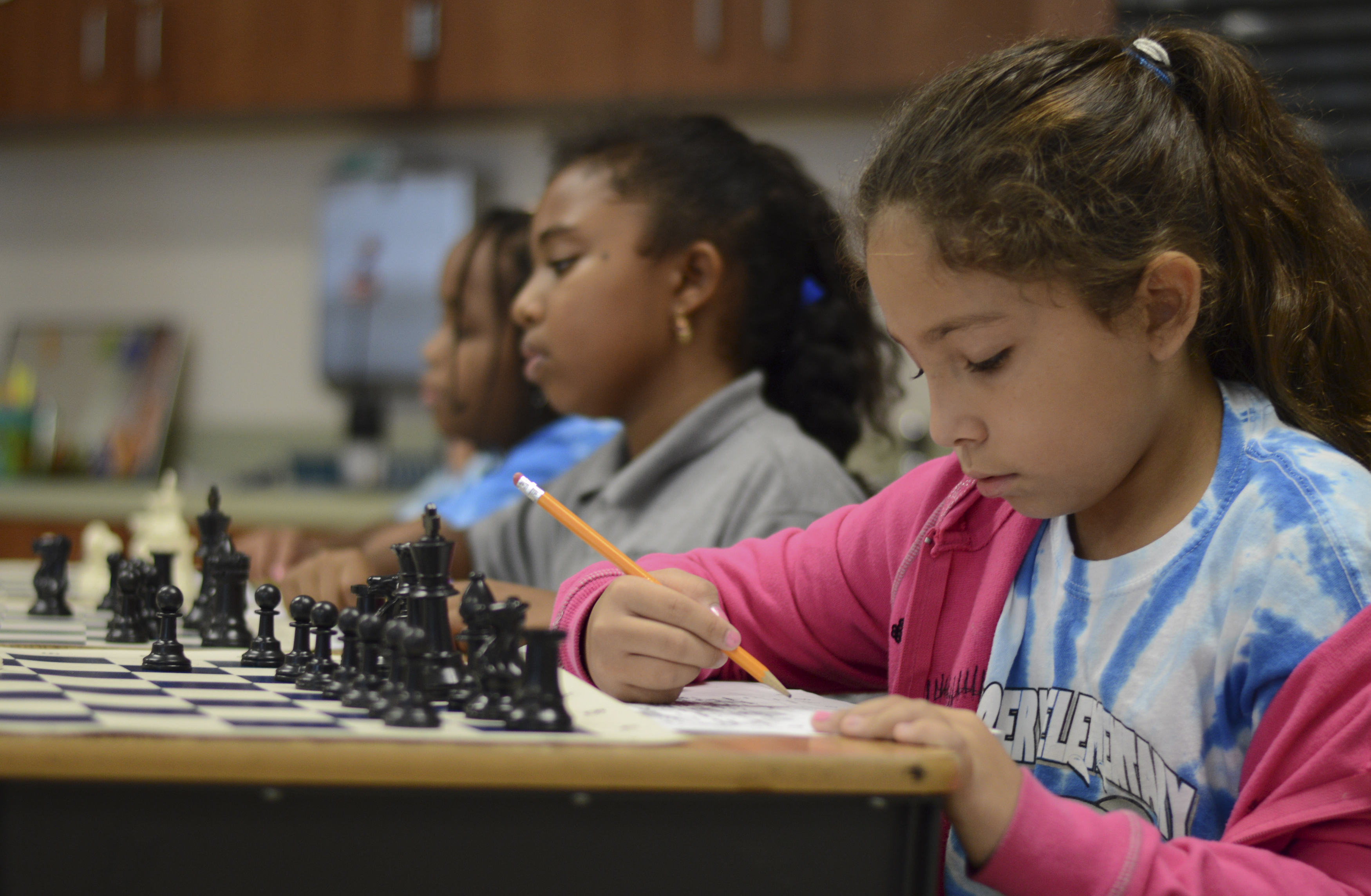 Hailey Rodelo participates in a chess-geography lesson at Discovery Elementary School in Sunrise, Florida