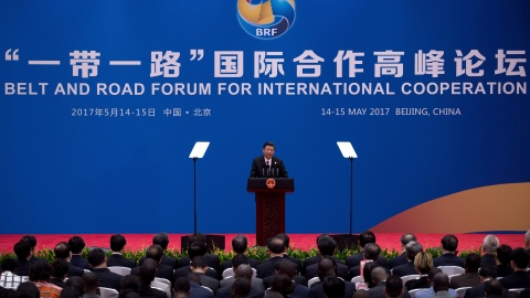 Chinese President Xi Jinping speaks during a briefing on the final day of the Belt and Road Forum, at the Yanqi Lake International Conference Centre, north of Beijing, China May 15, 2017.  REUTERS/Nicolas Asfouri/Pool - RTX35WHQ