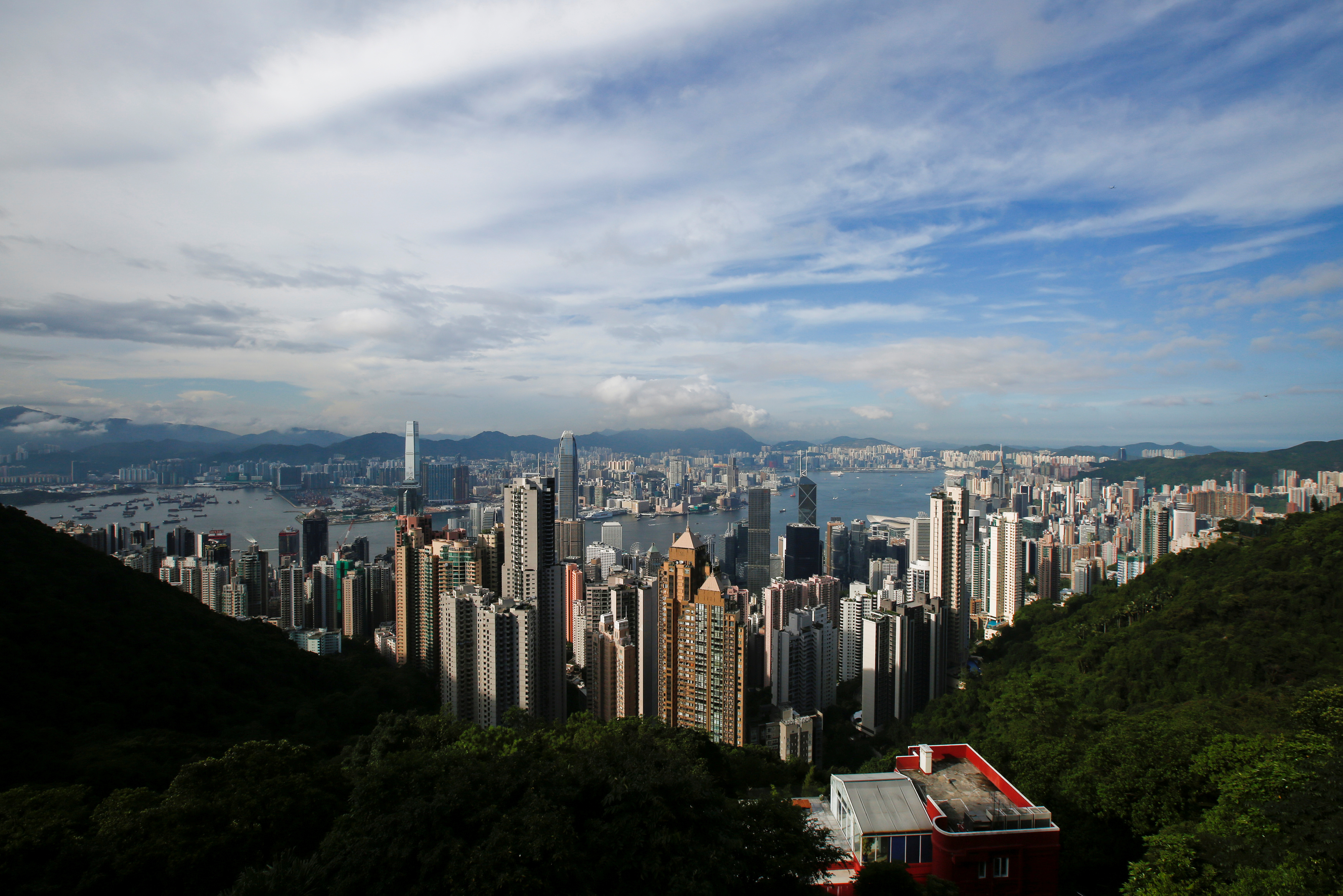 A general view of Victoria Harbour and downtown skyline is seen from the Peak in Hong Kong, China August 4, 2017. REUTERS/Bobby Yip