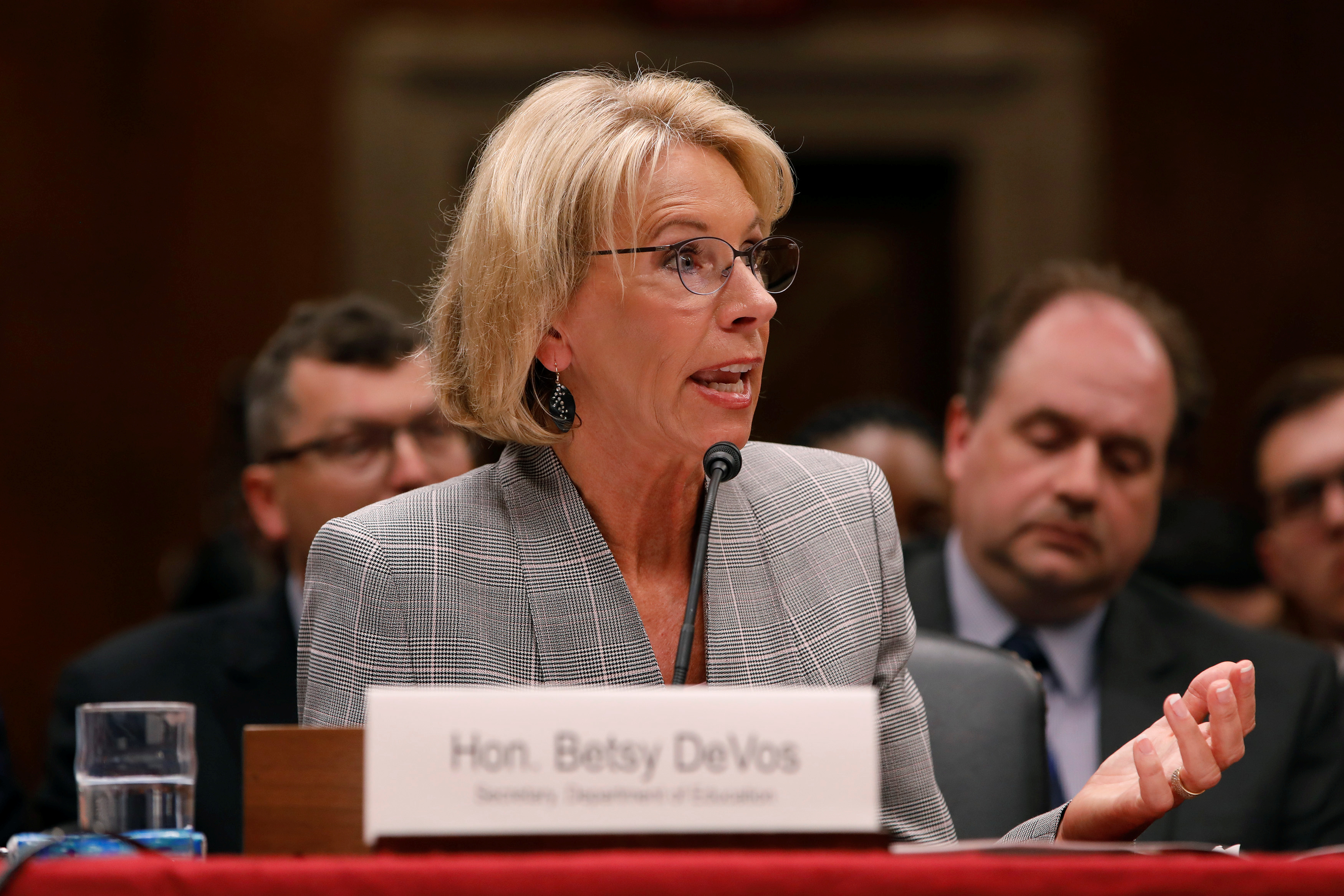 U.S. Education Secretary Betsy DeVos testifies before the Labor, Health and Human Services, Education, and Related Agencies subcommittee of the Senate Appropriations Committee on Capitol Hill in Washington, D.C. June 6, 2017. REUTERS/Aaron P. Bernstein - RTX39AXI