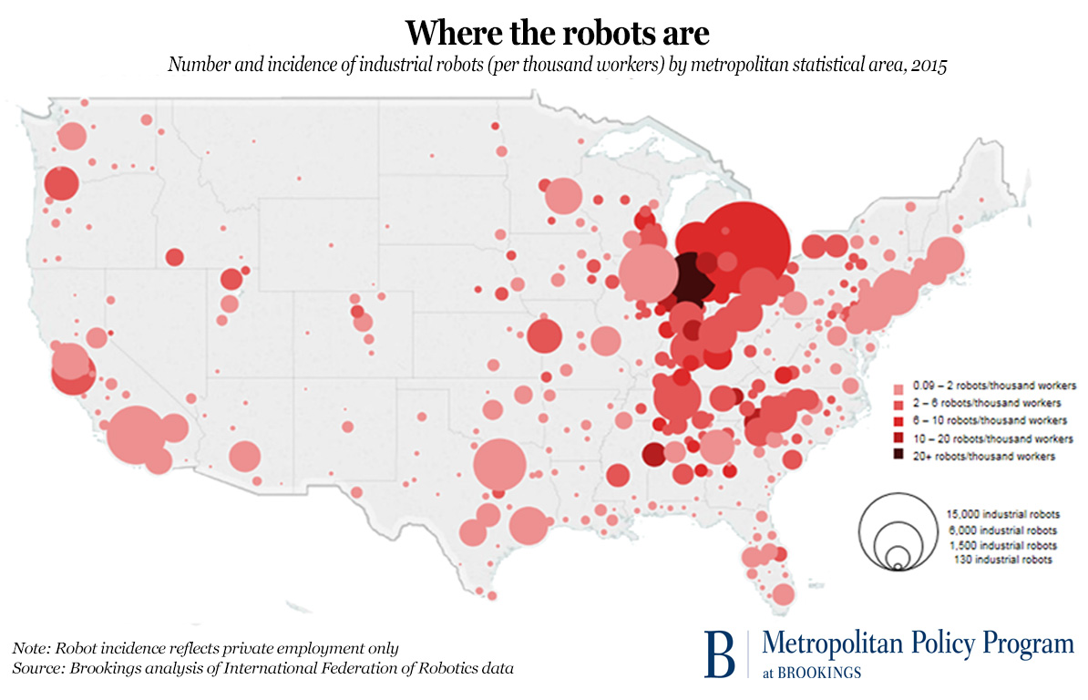 Cities Where Robots Are Taking Jobs