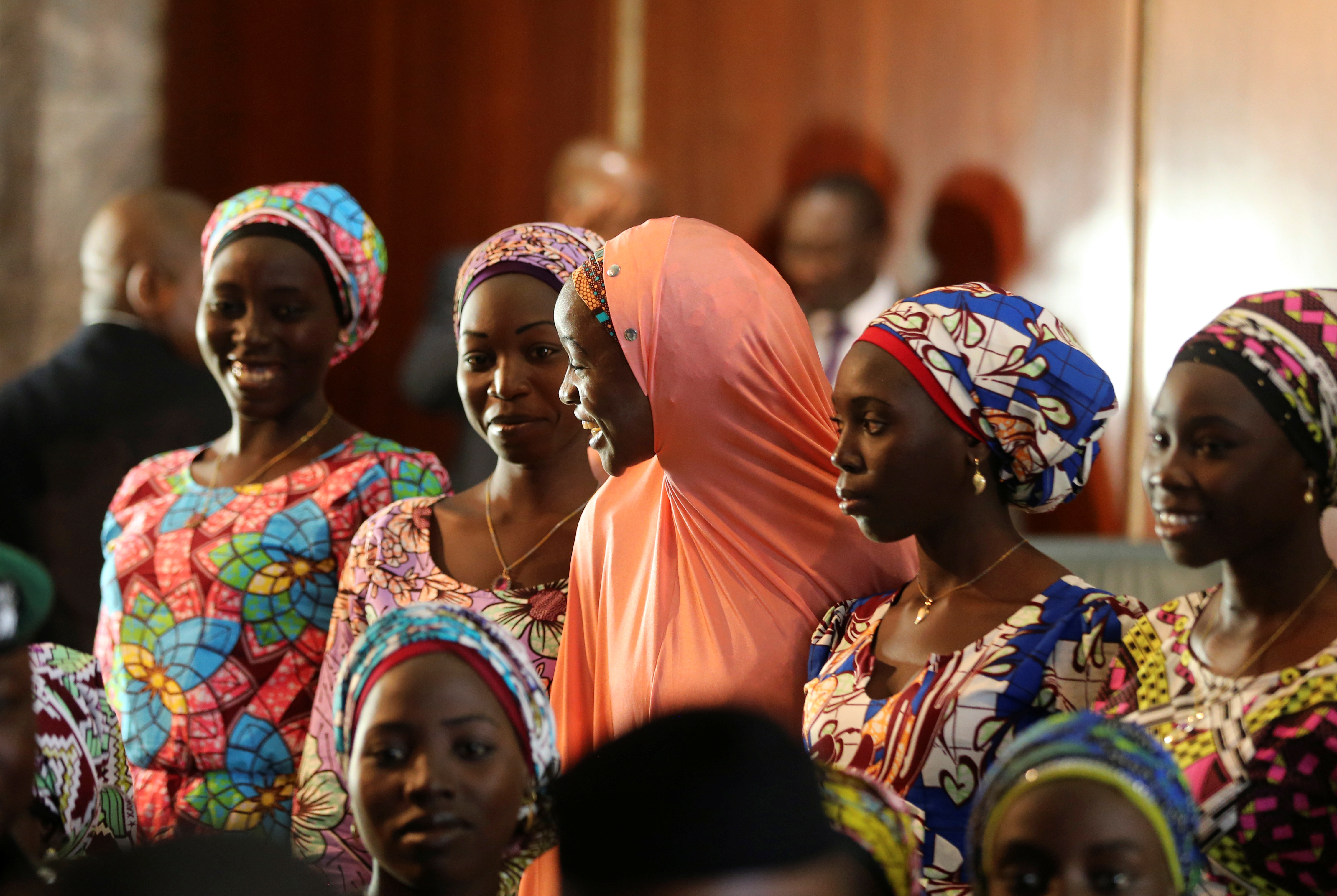 Some of the 21 Chibok schoolgirls released by Boko Haram look on during their visit to meet President Muhammadu Buhari In Abuja, Nigeria October 19, 2016 REUTERS/Afolabi Sotunde - S1BEUHWXBXAA