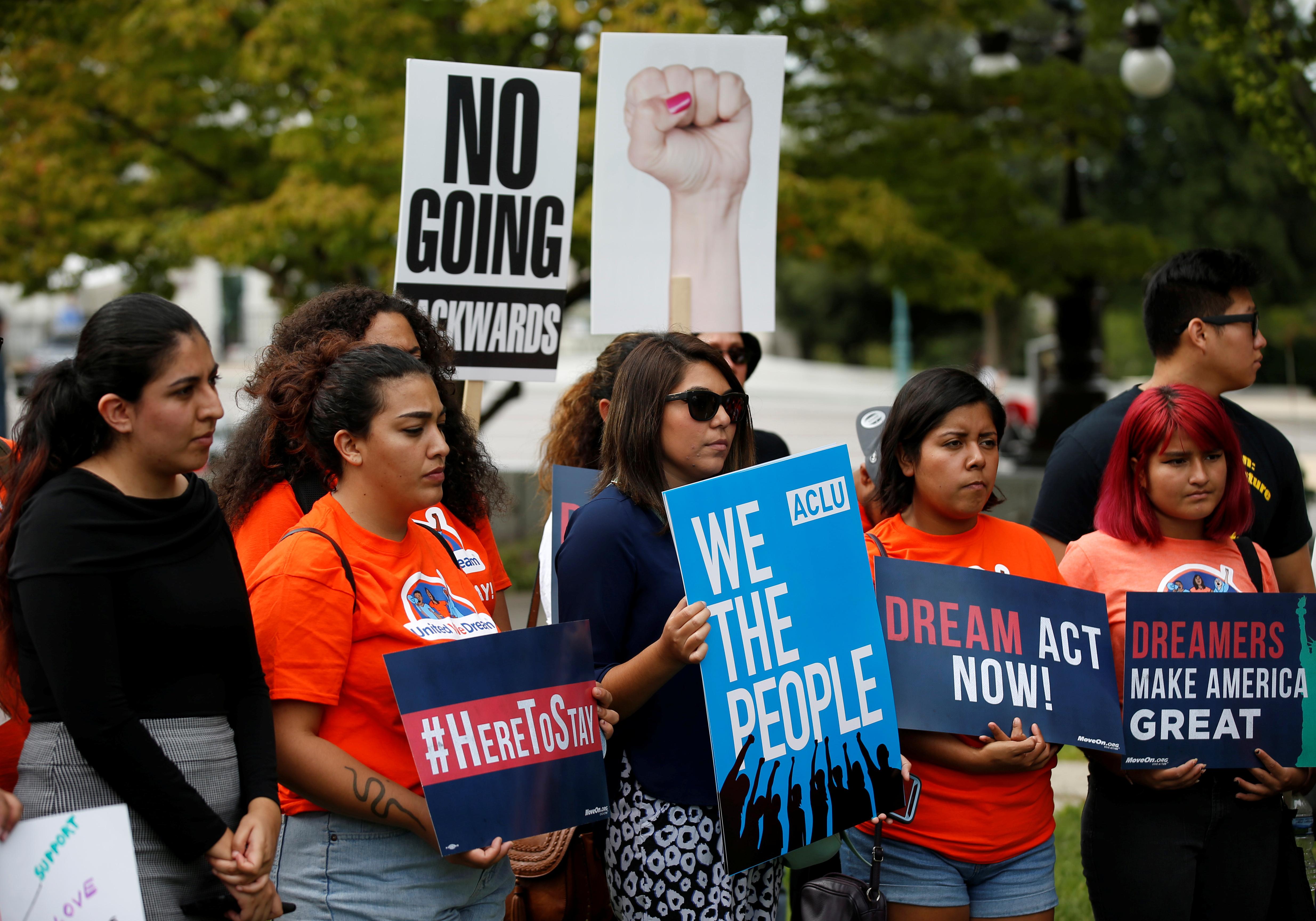 Immigration activists and DACA recipients take part in a rally about the importance of passing a clean DREAM Act before delivering a million signatures to Congress on Capitol Hill in Washington