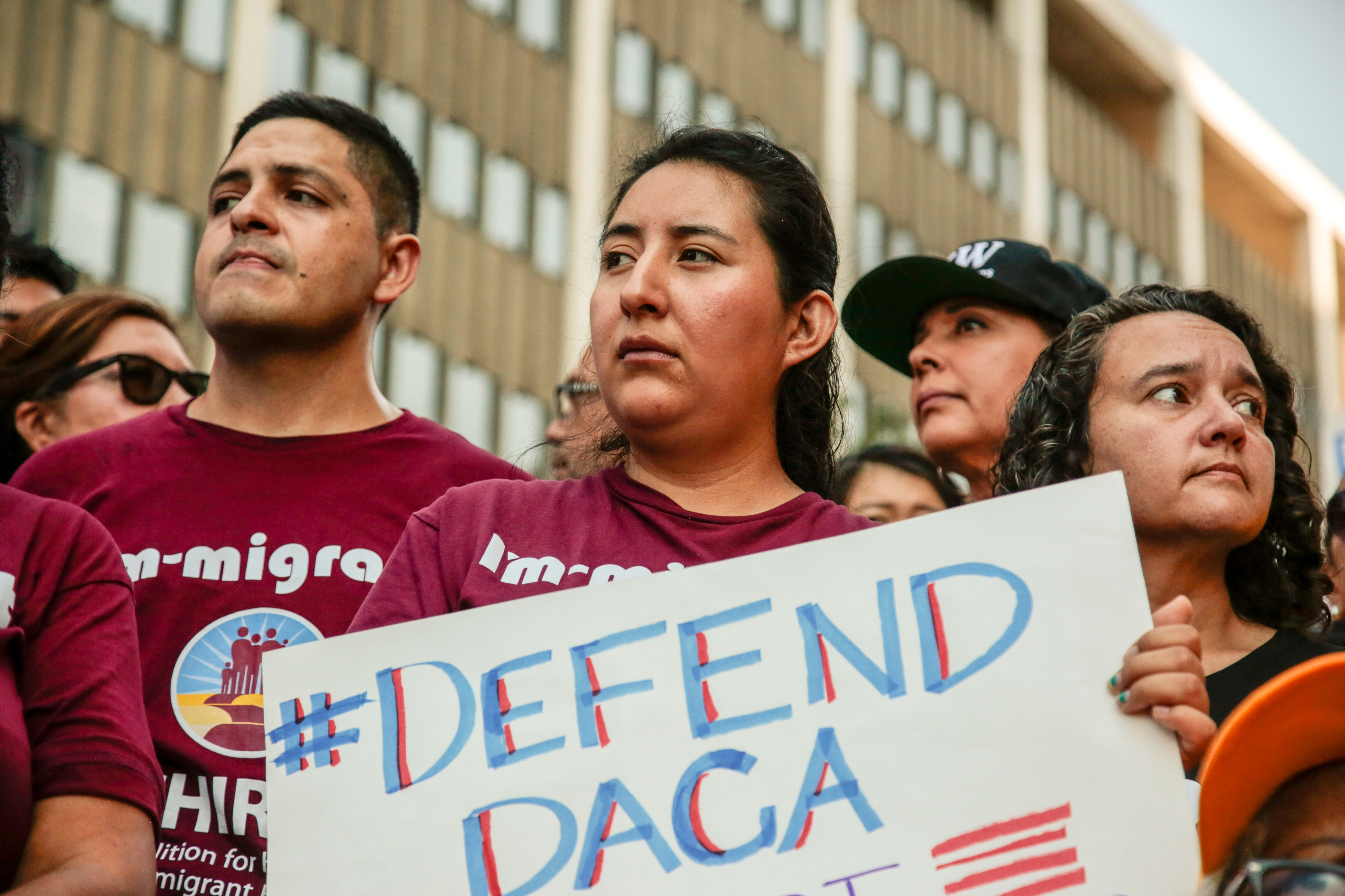 Protesters gather to show support for the Deferred Action for Childhood Arrivals (DACA) program outside the Federal Building in Los Angeles, California, U.S., September 1, 2017. REUTERS/Kyle Grillot - RC1B156F7DA0