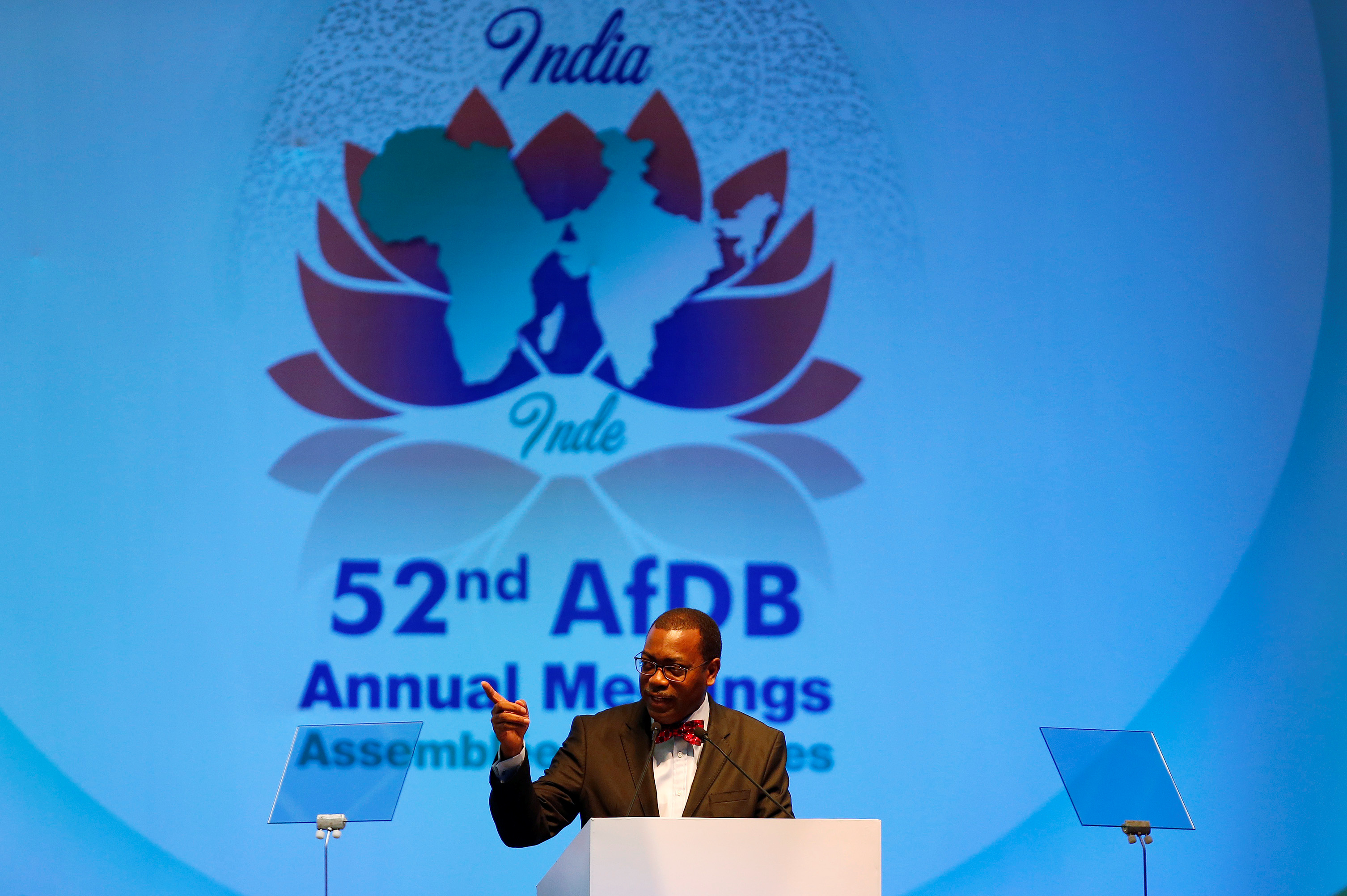 African Development Bank (AfDB) President Akinwumi Adesina addresses the audience during the inauguration ceremony of the Annual General Meeting of AfDB bank in Gandhinagar, India May 23, 2017. REUTERS/Amit Dave - RC1BE6744E00