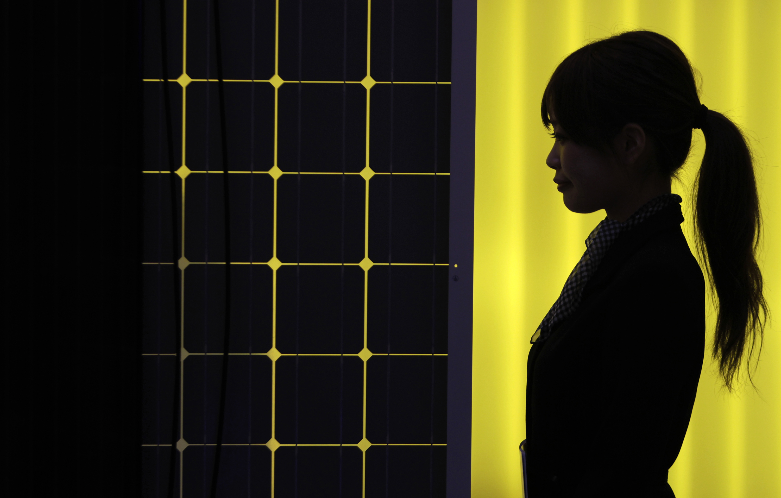 A woman is silhouetted next to a solar panel display by solar module supplier Upsolar at the fourth International Photovoltaic Power Generation (PV) Expo in Tokyo March 2, 2011. More than 600 companies in the solar energy business from 18 countries are taking part in the March 2-4 expo, which showcases firms and products related to photovoltaic power generation, according to the organiser. REUTERS/Yuriko Nakao (JAPAN - Tags: BUSINESS SCI TECH ENVIRONMENT) - GM1E7321H1O01