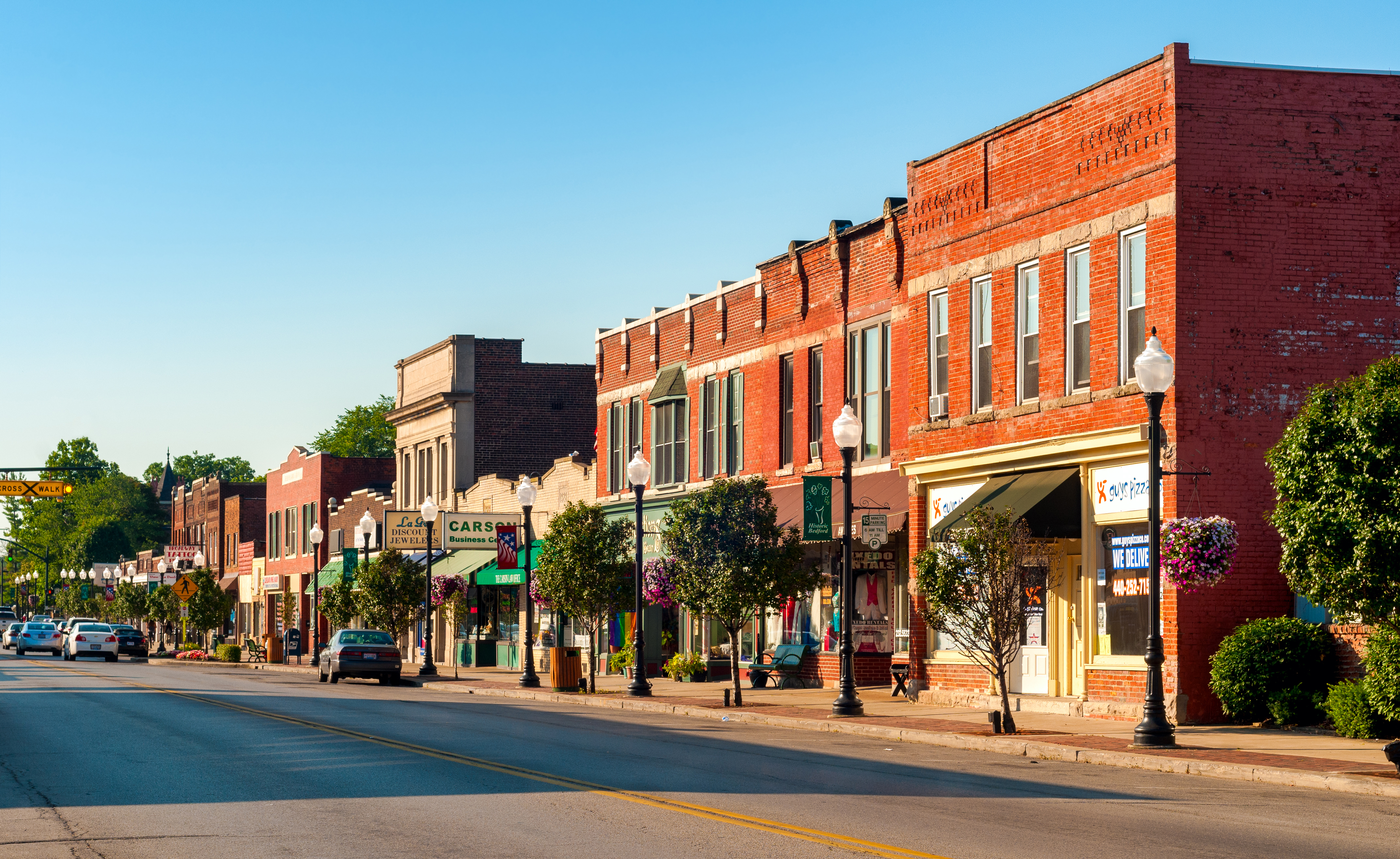 Photo: a calm downtown street in Bedford, Ohio