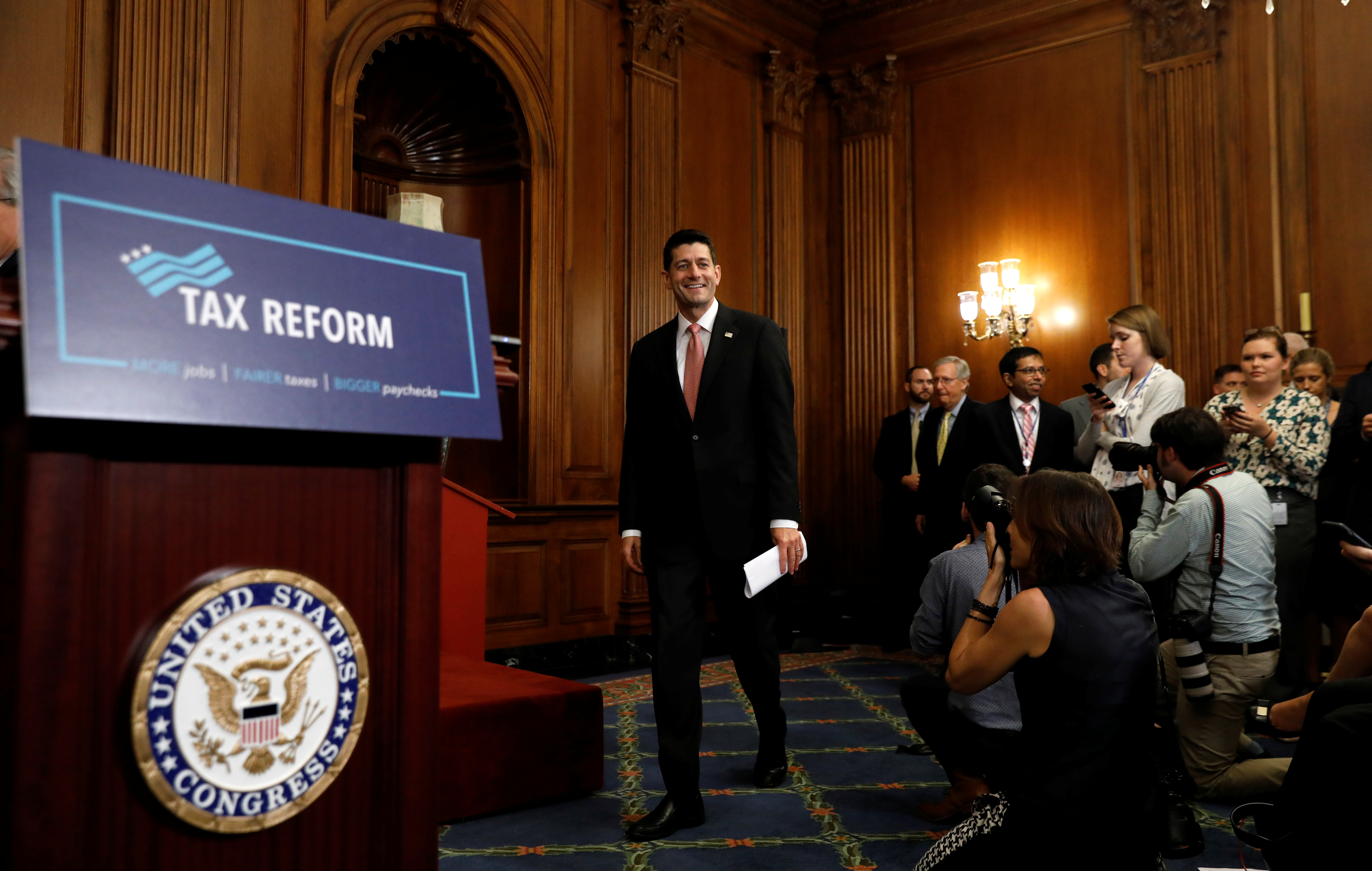 Speaker of the House Paul Ryan arrives to speak about the Republican tax plan in the U.S. Capitol in Washington, U.S., September 27, 2017. REUTERS/Kevin Lamarque - RC1C286A54B0