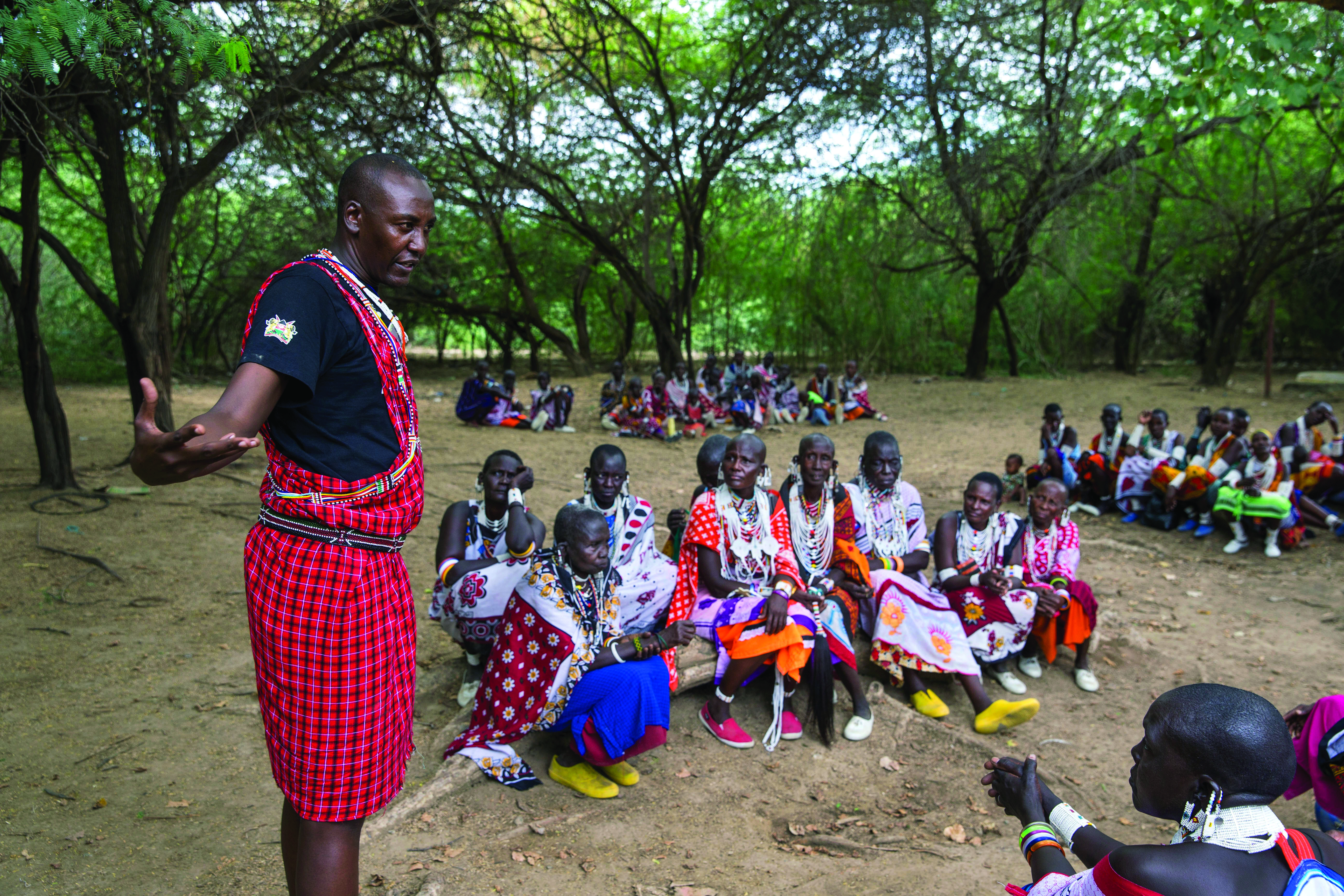 Maasai tribe elders and women gather for a forum organized by AMREF, and geared at sensitizing the elders and women towards an alternative rights of passage for young girls, that would stop female circumcision.