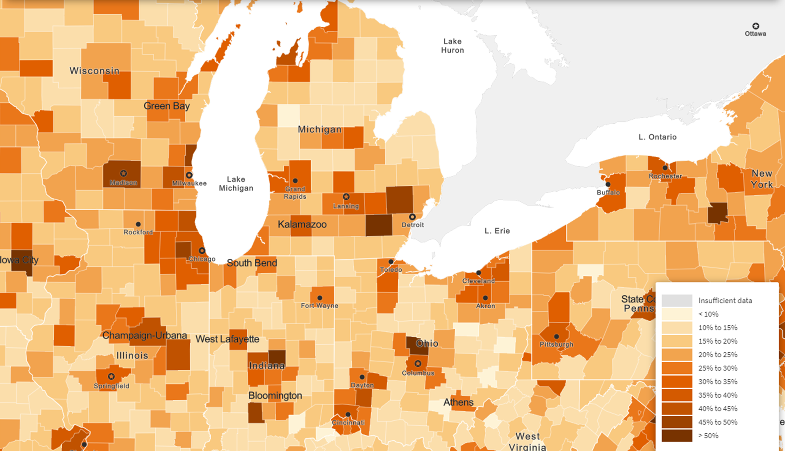 Rust Belt States Map.Tale Of Two Rust Belts Higher Education Is Driving Rust Belt