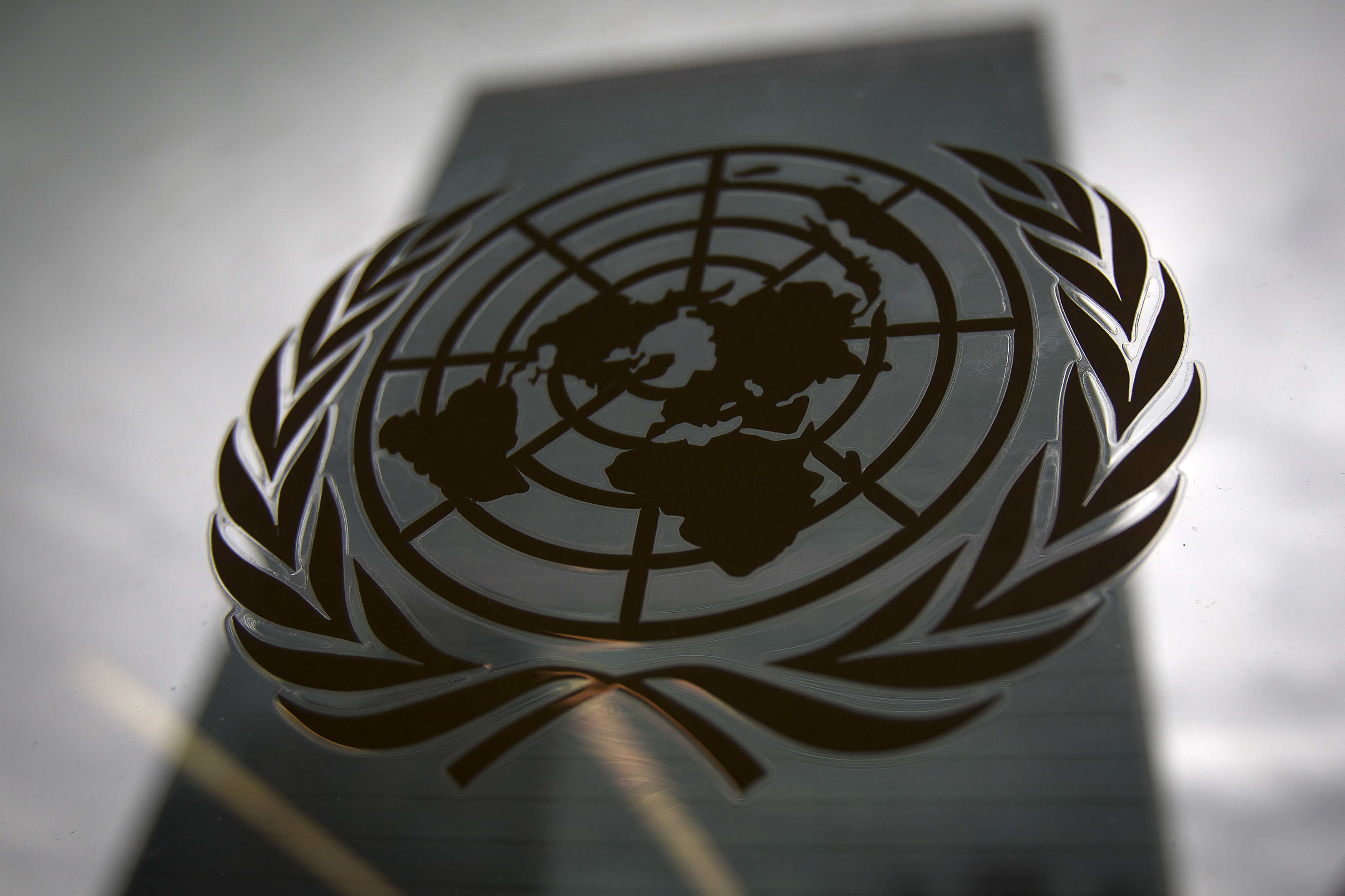 The United Nations headquarters building is pictured though a window with the UN logo in the foreground in the Manhattan borough of New York August 15, 2014.    REUTERS/Carlo Allegri (UNITED STATES - Tags: SOCIETY POLITICS BUSINESS LOGO) - GM1EA8G0HQF01