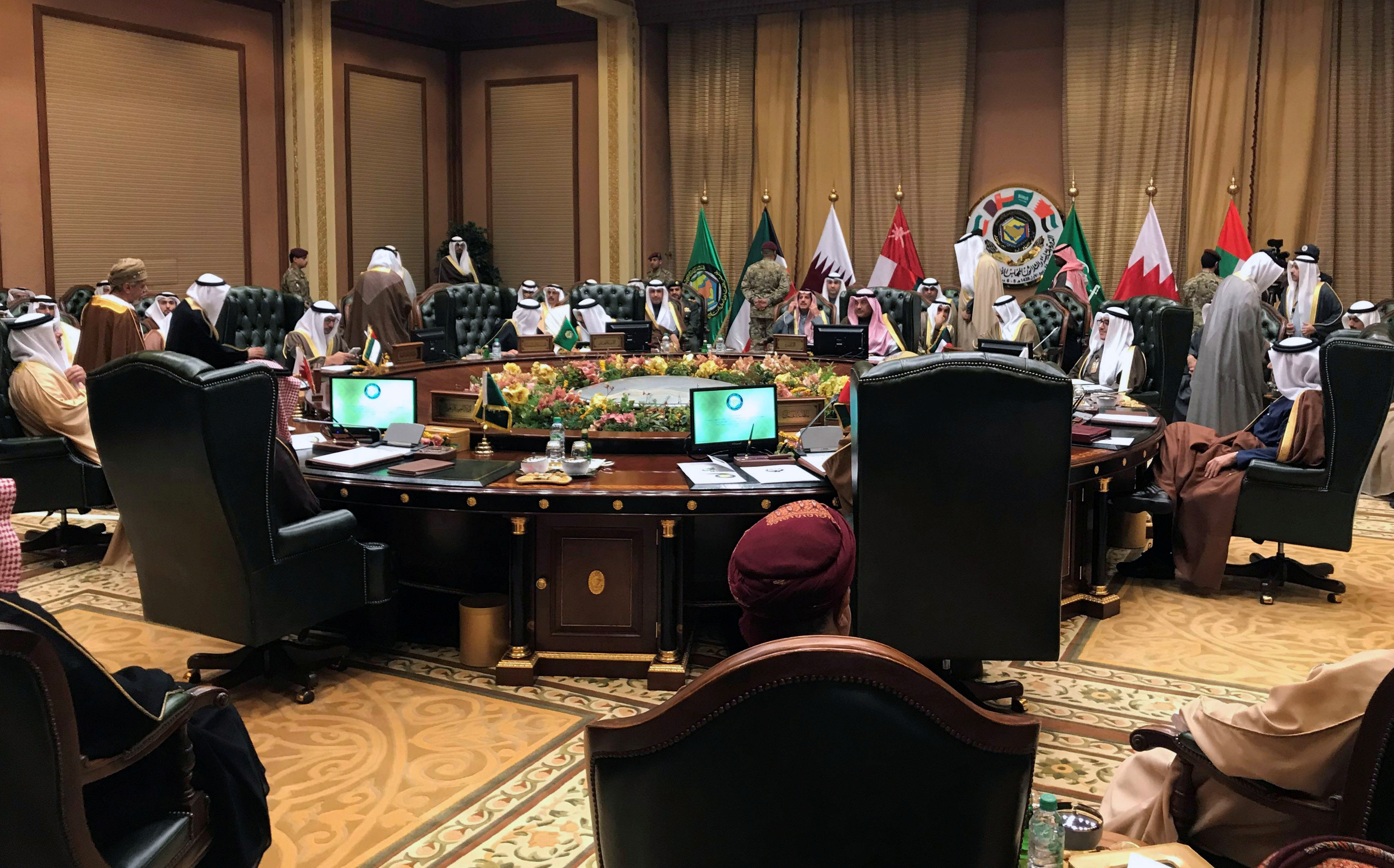 Foreign Ministers of the Gulf Cooperation Council (GCC) attend a meeting in Bayan Palace, in Kuwait City, Kuwait, December 4, 2017.