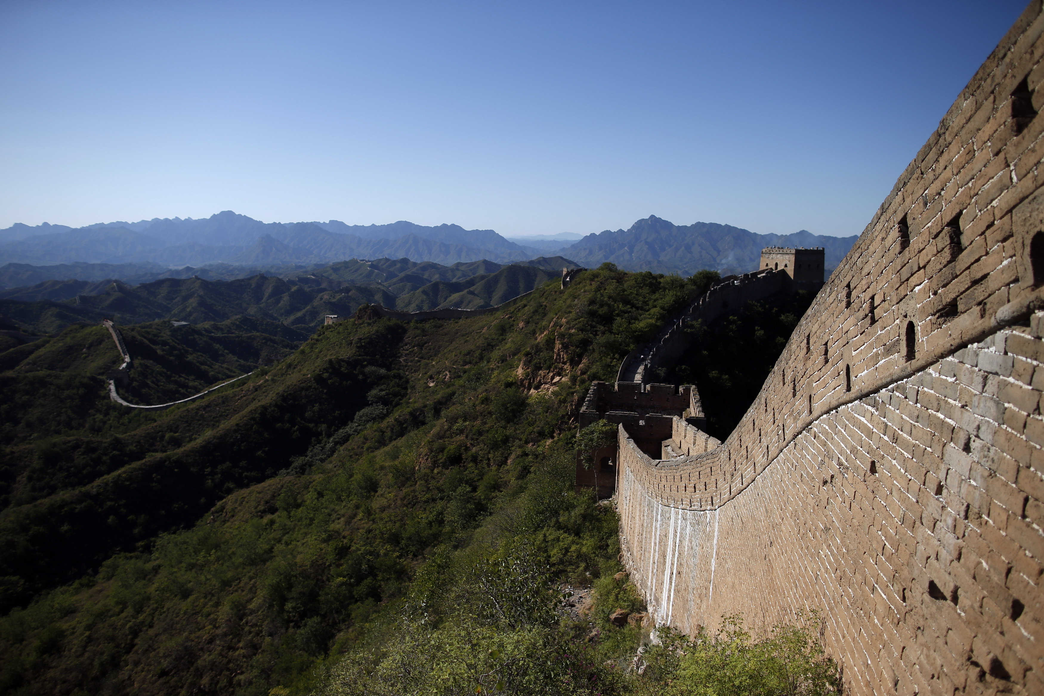 A section of the Great Wall of China is pictured.