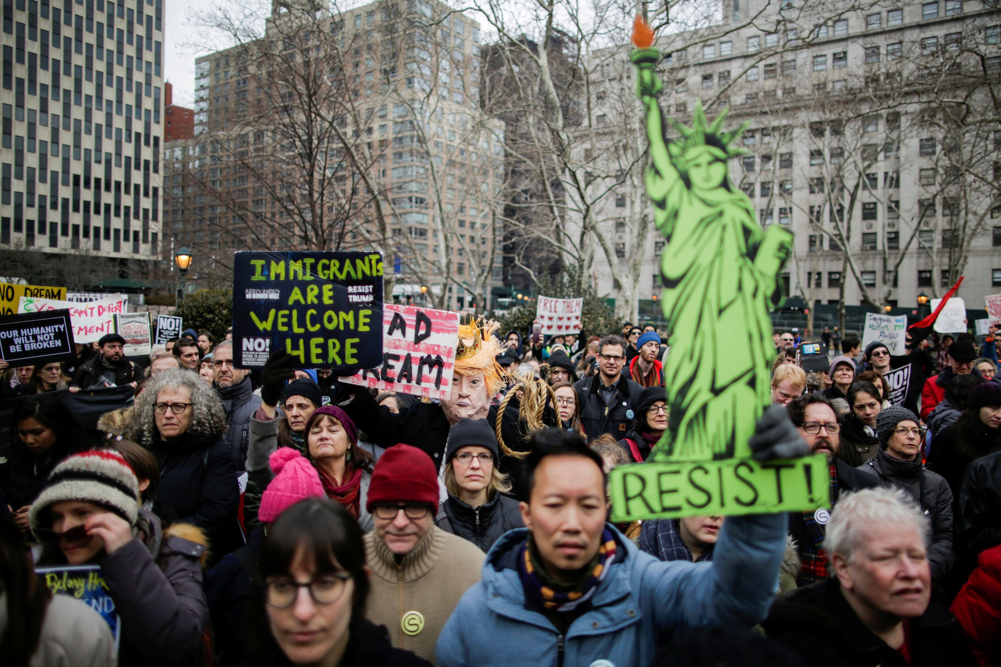 People participate in a protest against U.S. Immigration Policies.