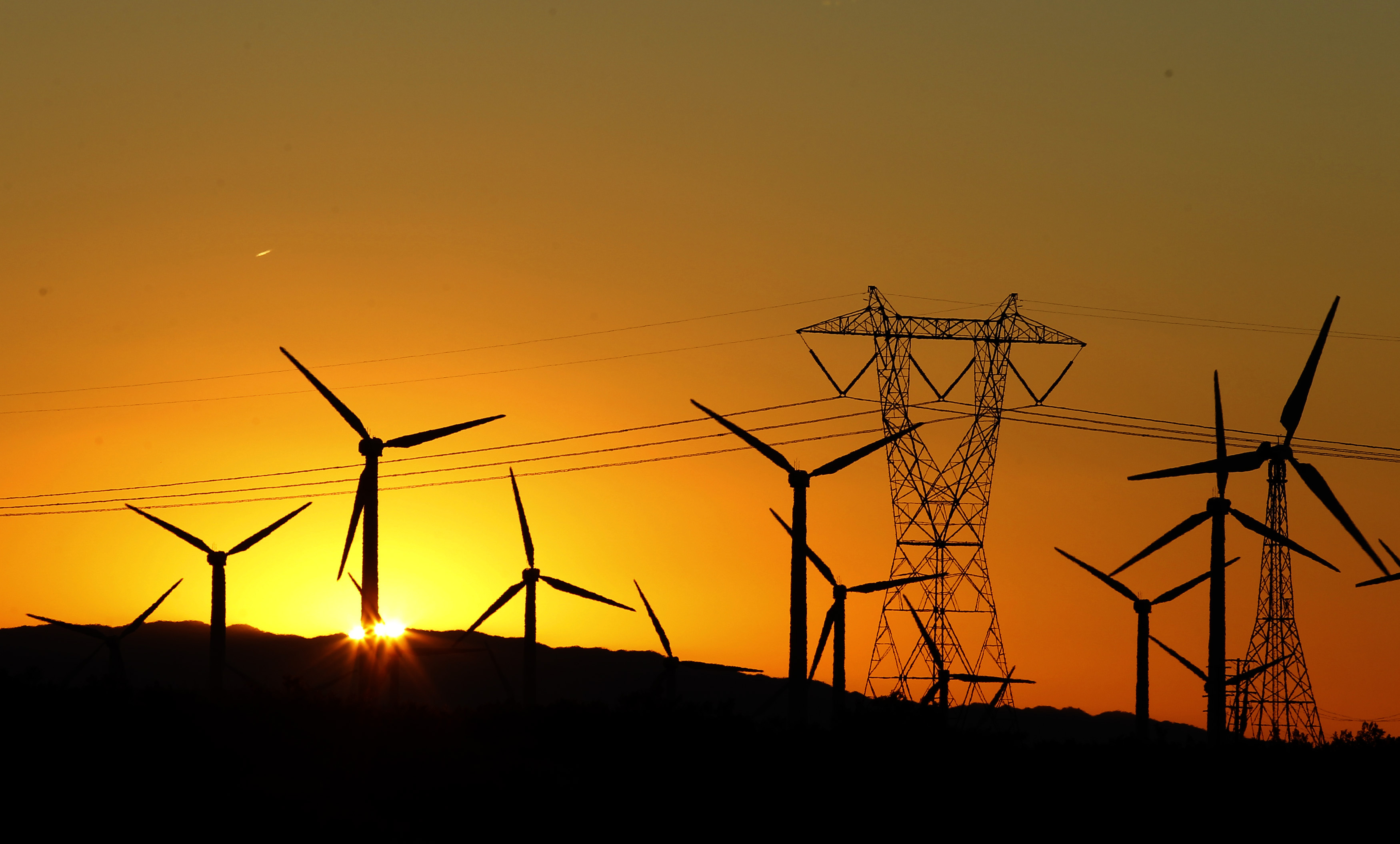 The sun rises behind windmills at a wind farm in Palm Springs, California, February 9, 2011.