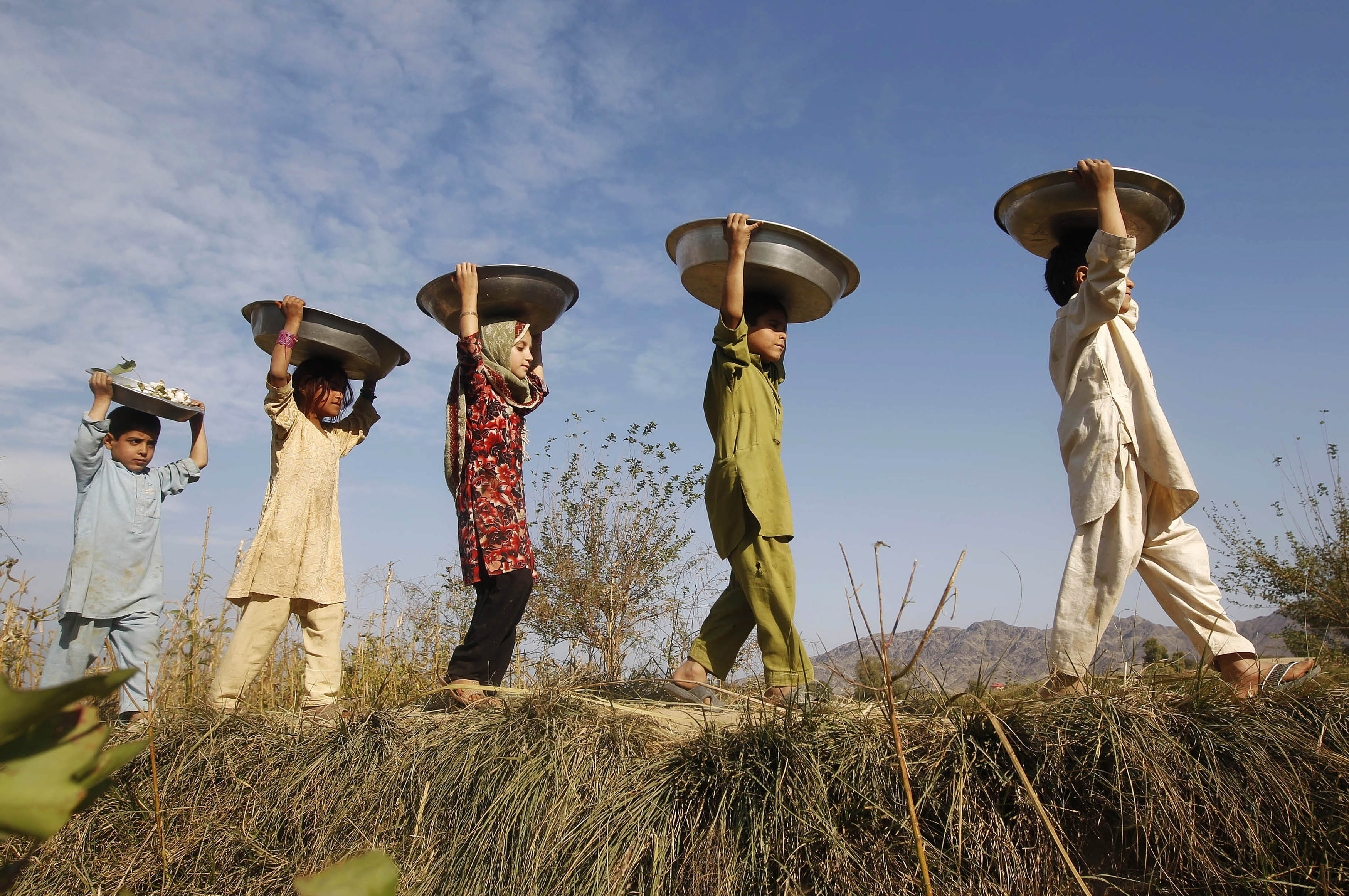 Afghan children walk out of a field as they carry cotton clumps in containers balanced on their heads on the outskirts of Jalalabad province, November 5, 2012. REUTERS/Parwiz (AFGHANISTAN - Tags: AGRICULTURE BUSINESS COMMODITIES SOCIETY) - GM1E8B51Q7R01