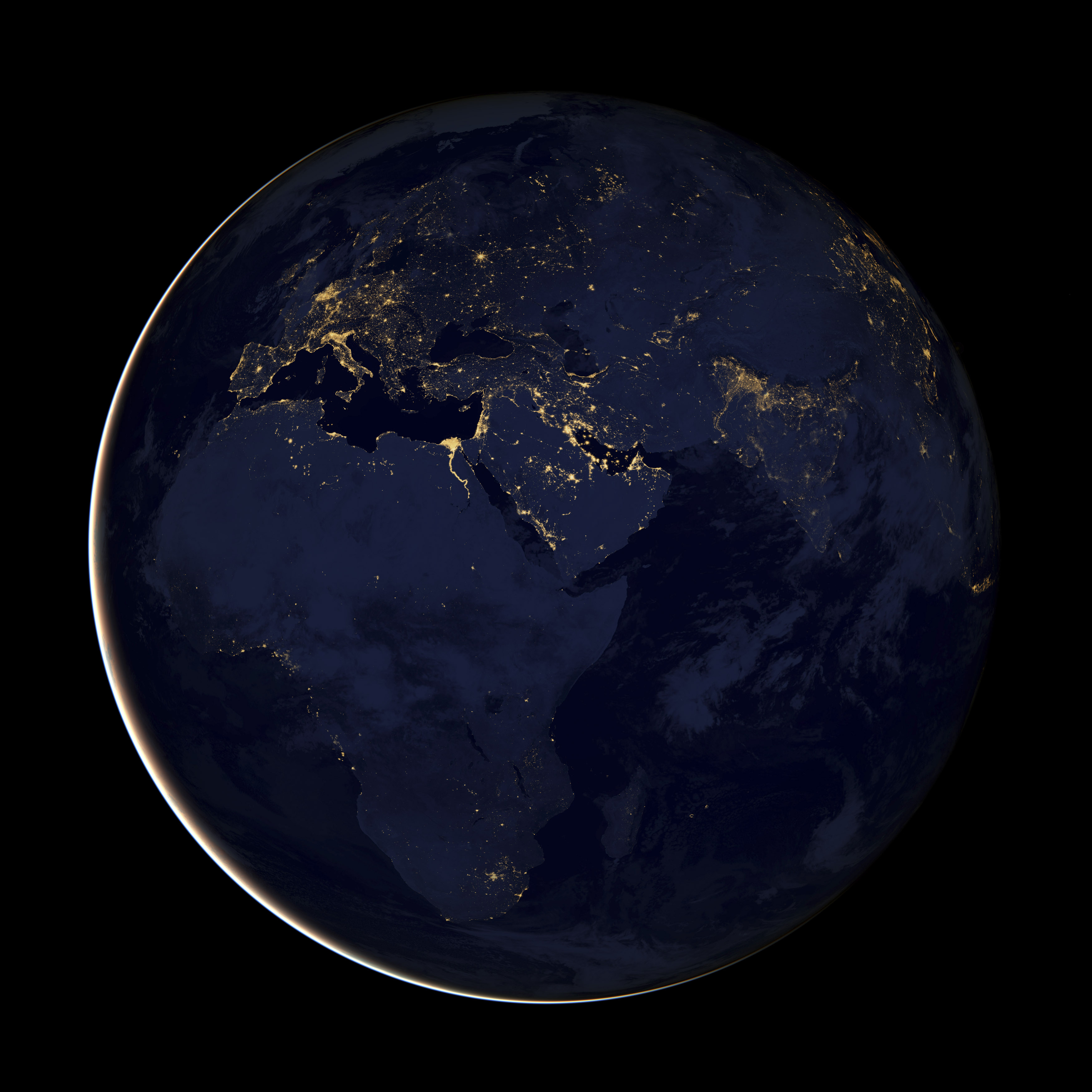 """A NASA Earth Observatory handout released December 5, 2012 of a composite image of Europe, Africa, and the Middle East at night, assembled from data acquired by the Suomi NPP satellite in April and October 2012. The image was made possible by the satellite's """"day-night band"""" of the Visible Infrared Imaging Radiometer Suite (VIIRS), which detects light in a range of wavelengths from green to near-infrared and uses filtering techniques to observe dim signals such as city lights, gas flares, auroras, wildfires and reflected moonlight. REUTERS/NASA Earth Observatory/Handout (SCIENCE TECHNOLOGY ENVIRONMENT) FOR EDITORIAL USE ONLY. NOT FOR SALE FOR MARKETING OR ADVERTISING CAMPAIGNS. THIS IMAGE HAS BEEN SUPPLIED BY A THIRD PARTY. IT IS DISTRIBUTED, EXACTLY AS RECEIVED BY REUTERS, AS A SERVICE TO CLIENTS - GF2E8C51UIA01"""