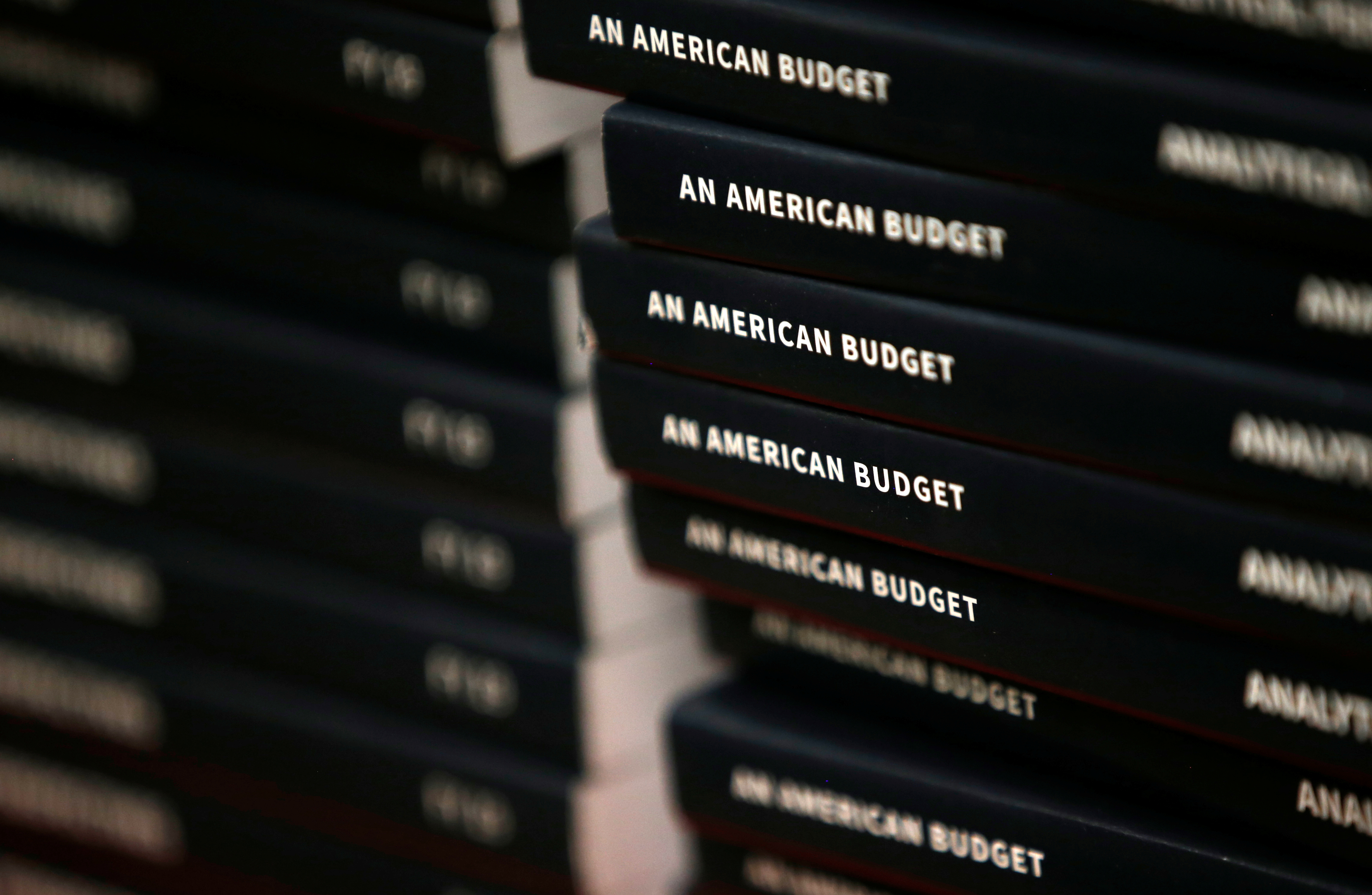 New copies of President Donald Trump's Budget for the U.S. Government for the Fiscal Year 2019 lay on a display table at the U.S. Government Publishing Office.