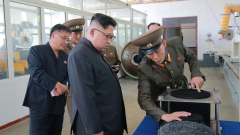 North Korean leader Kim Jong-Un looks on during a visit to the Chemical Material Institute of the Academy of Defense Science in this undated photo released by North Korea's Korean Central News Agency (KCNA) in Pyongyang on August 23, 2017.  KCNA/via REUTERS  ATTENTION EDITORS - THIS PICTURE WAS PROVIDED BY A THIRD PARTY. REUTERS IS UNABLE TO INDEPENDENTLY VERIFY THE AUTHENTICITY, CONTENT, LOCATION OR DATE OF THIS IMAGE. FOR EDITORIAL USE ONLY. NOT FOR SALE FOR MARKETING OR ADVERTISING CAMPAIGNS. NO THIRD PARTY SALES. NOT FOR USE BY REUTERS THIRD PARTY DISTRIBUTORS. SOUTH KOREA OUT. NO COMMERCIAL OR EDITORIAL SALES IN SOUTH KOREA. THIS PICTURE IS DISTRIBUTED EXACTLY AS RECEIVED BY REUTERS, AS A SERVICE TO CLIENTS. - RC117EE22770