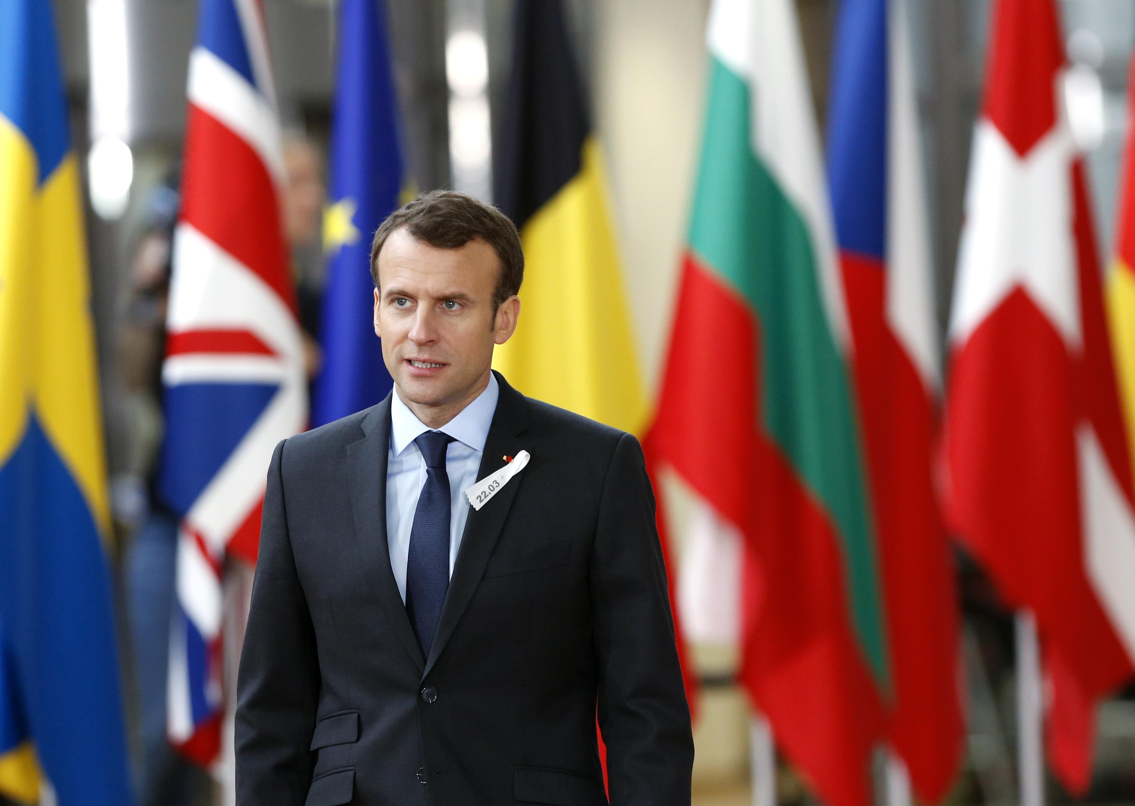 France's President Emmanuel Macron arrives at a European Union leaders summit in Brussels, Belgium, March 22, 2018. REUTERS/Francois Lenoir - UP1EE3M13213M