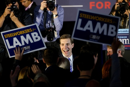 U.S. Democratic congressional candidate Conor Lamb is greeted by supporters during his election night rally in Pennsylvania's 18th U.S. Congressional district special election against Republican candidate and State Rep. Rick Saccone, in Canonsburg, Pennsylvania, March 13, 2018. REUTERS/Brendan McDermid - RC190011A7B0