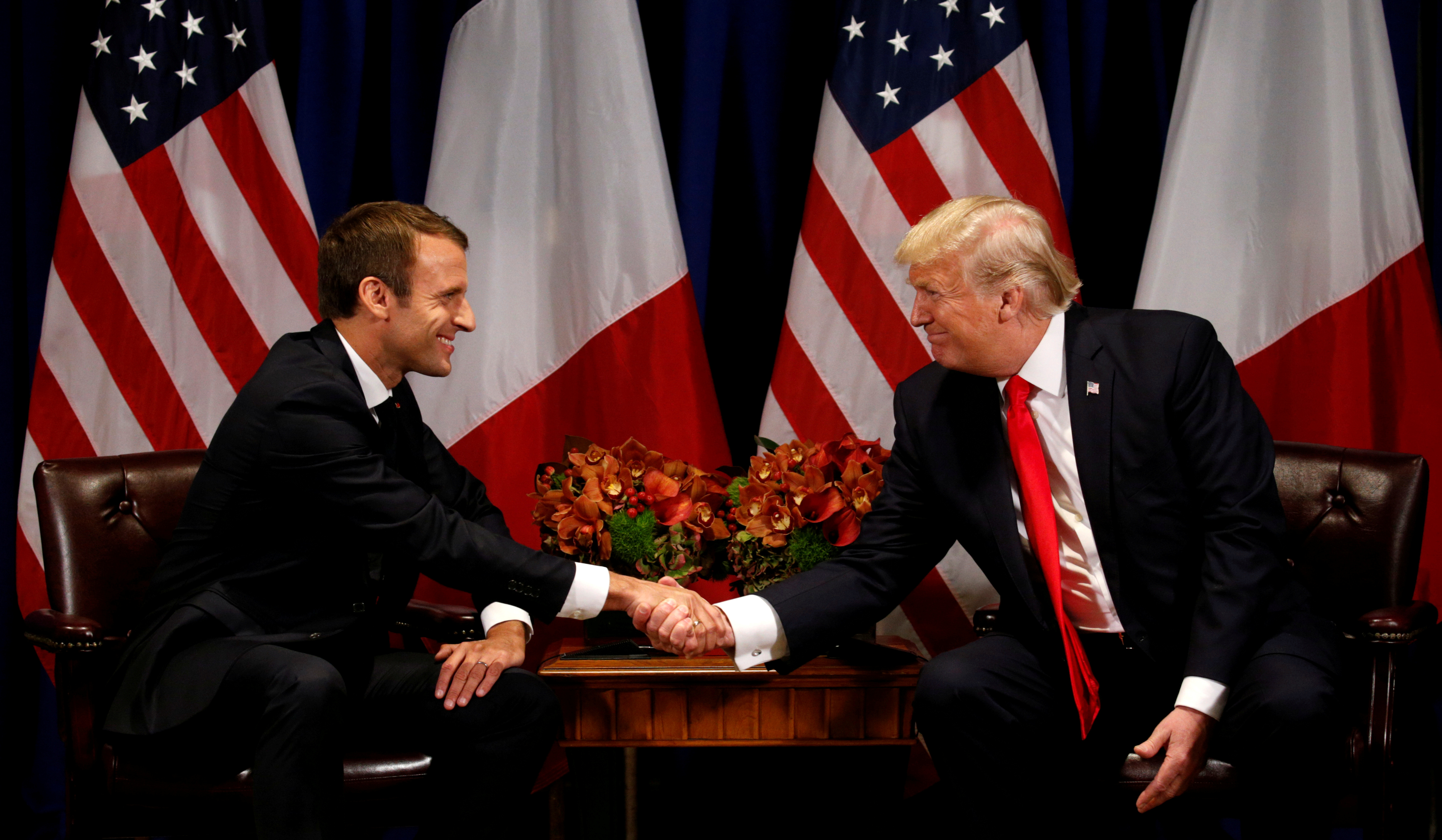 U.S. President Donald Trump meets French President Emmanuel Macron in New York, U.S., September 18, 2017. REUTERS/Kevin Lamarque     TPX IMAGES OF THE DAY - RC1544DC4470