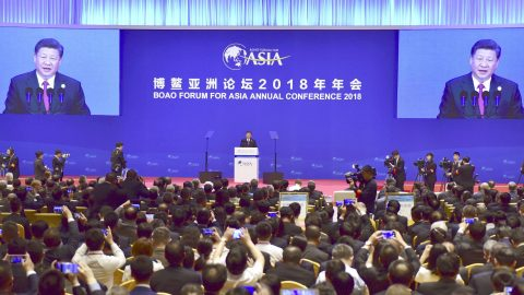 Chinese President Xi Jinping delivers a speech at an annual meeting of the Boao Forum for Asia in Boao, in the southern Chinese province of Hainan, in this photo taken by Kyodo April 10, 2018. Mandatory credit  Kyodo/via REUTERS   ATTENTION EDITORS - THIS IMAGE WAS PROVIDED BY A THIRD PARTY. MANDATORY CREDIT. JAPAN OUT. - RC1FBAB0CBE0